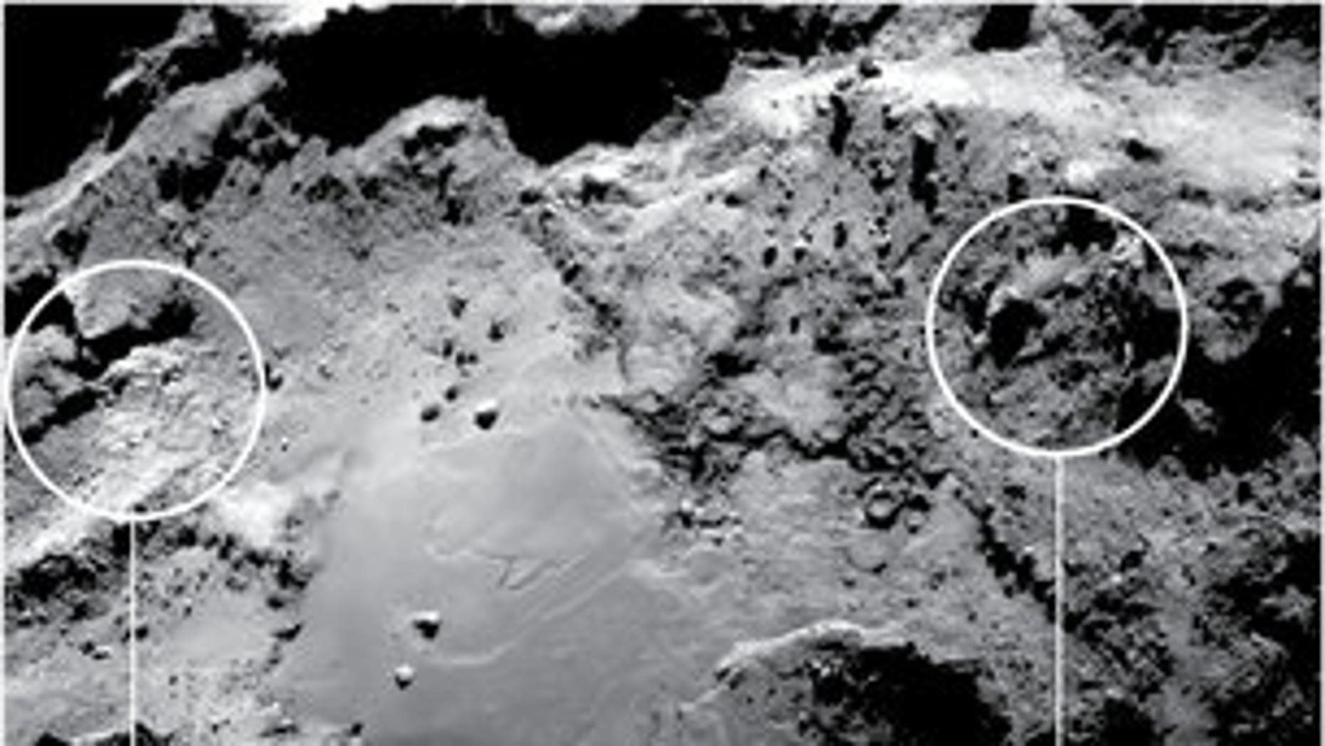 Ice in Imhotep (European Space Agency).