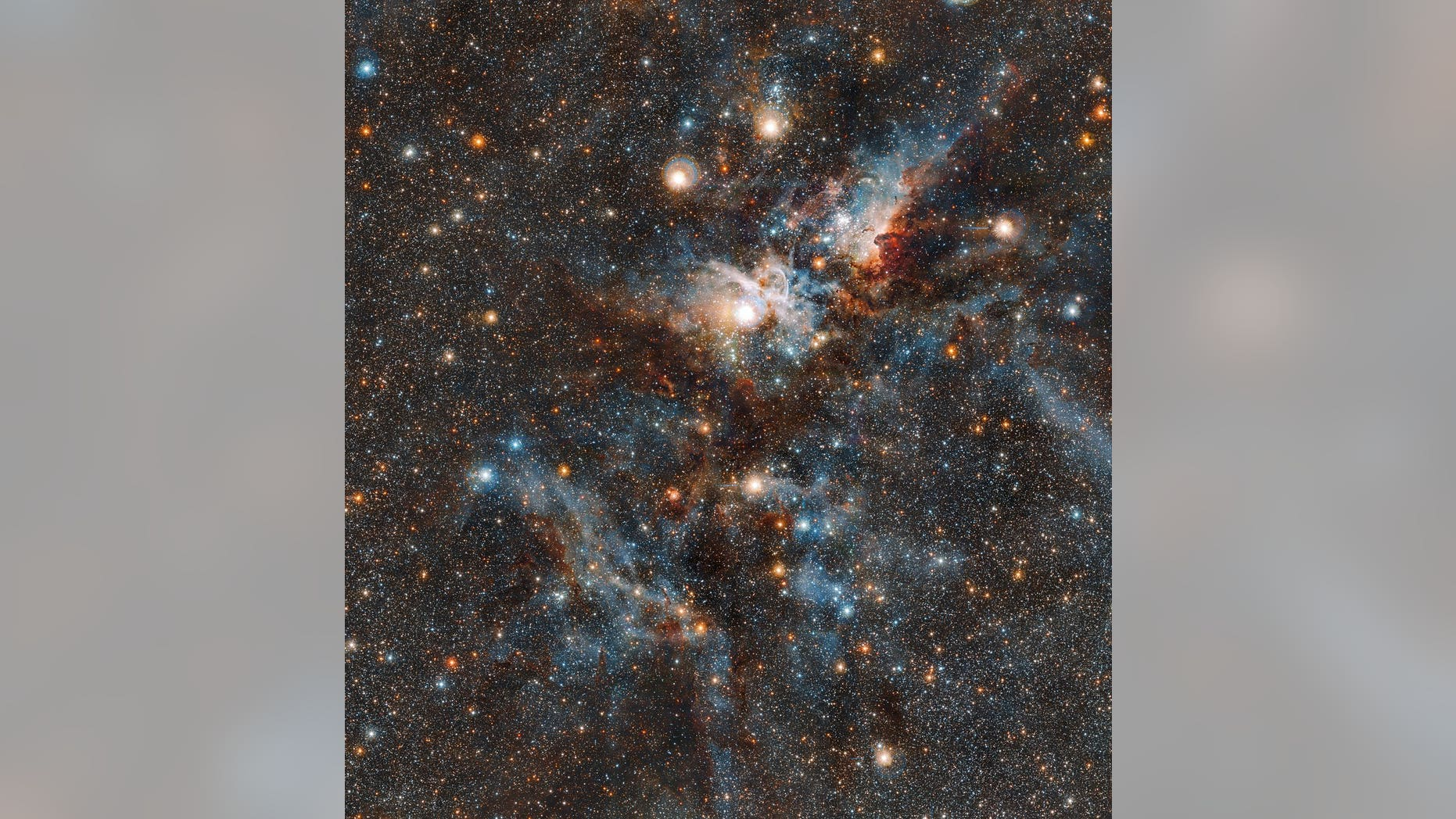 An infrared image of the Carina Nebula taken by the European Southern Observatory's VISTA telescope in Chile, released with a statement Aug. 29 2018.