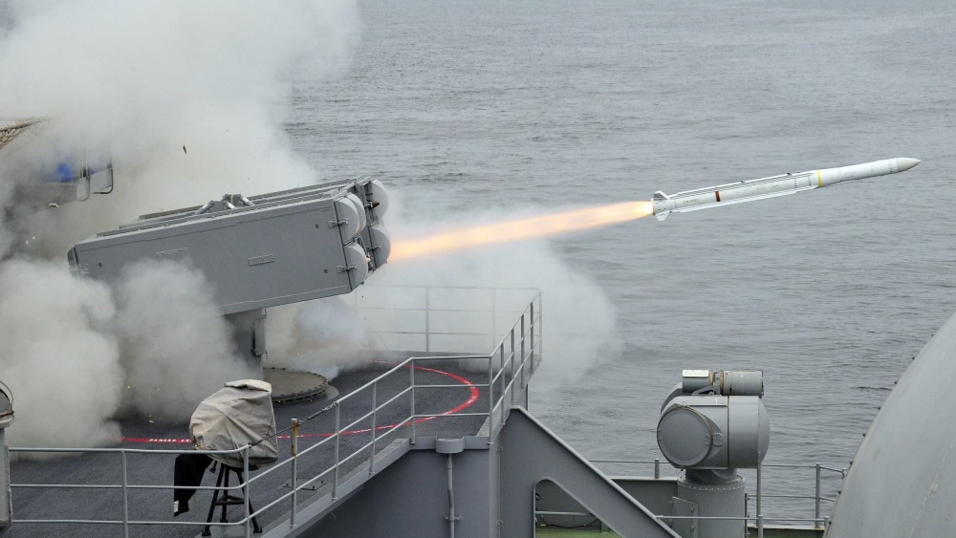 File photo - An Evolved Sea Sparrow missile is launched from the aircraft carrier USS Carl Vinson. (U.S. Navy photo/Petty Officer 3rd Class Patrick Green)