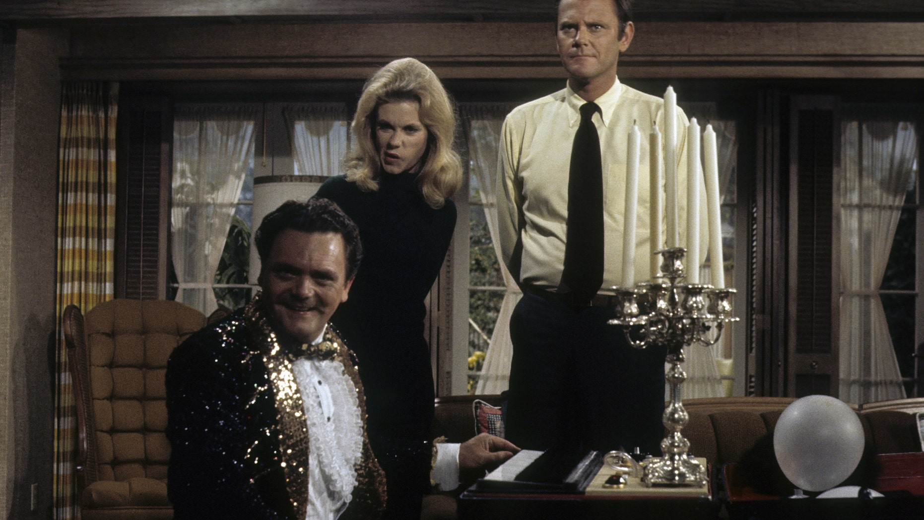 """From l-r: Bernard Fox, Elizabeth Montgomery and Dick Sargent in an episode of """"Bewitched"""" titled """"Samantha's Magic Potion. It aired on December 17, 1970."""