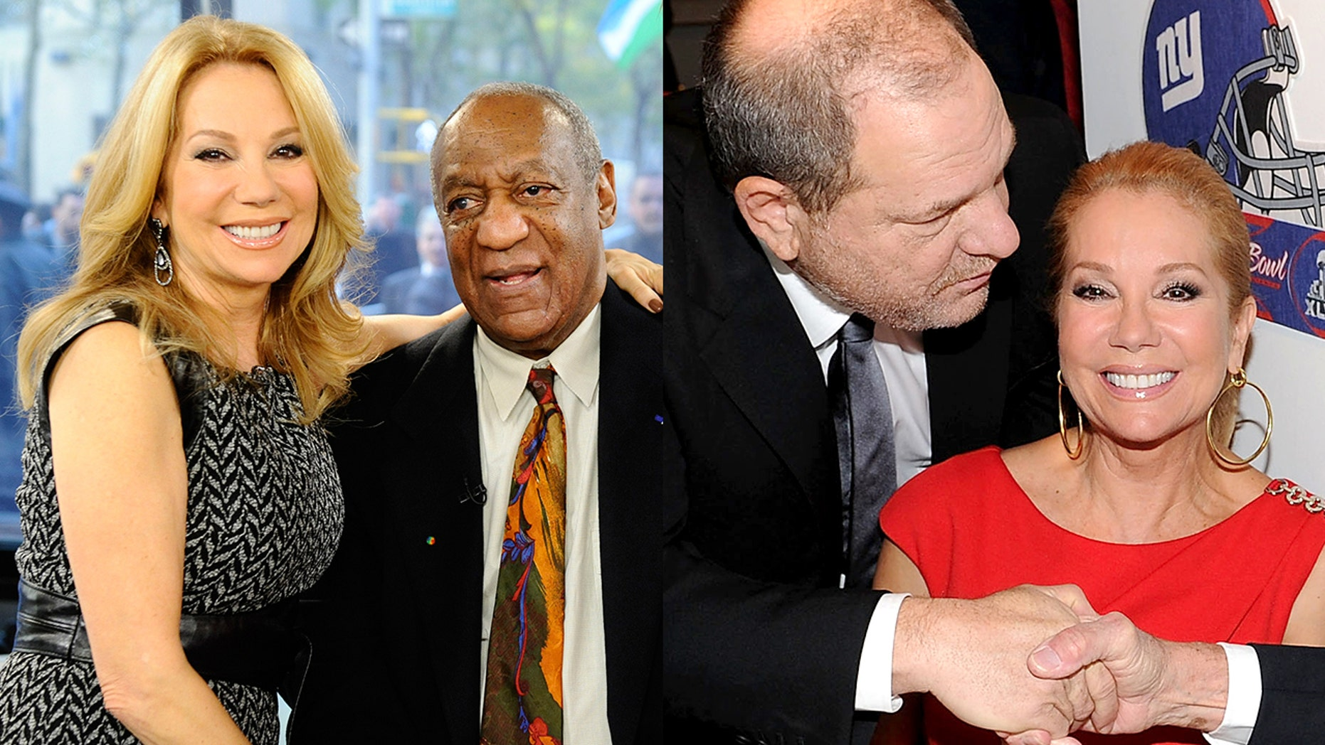 """Kathie Lee Gifford with Bill Cosby on the """"Today"""" show in 2011. The host also posed for a photo with Harvey Weinstein on February 1, 2012."""