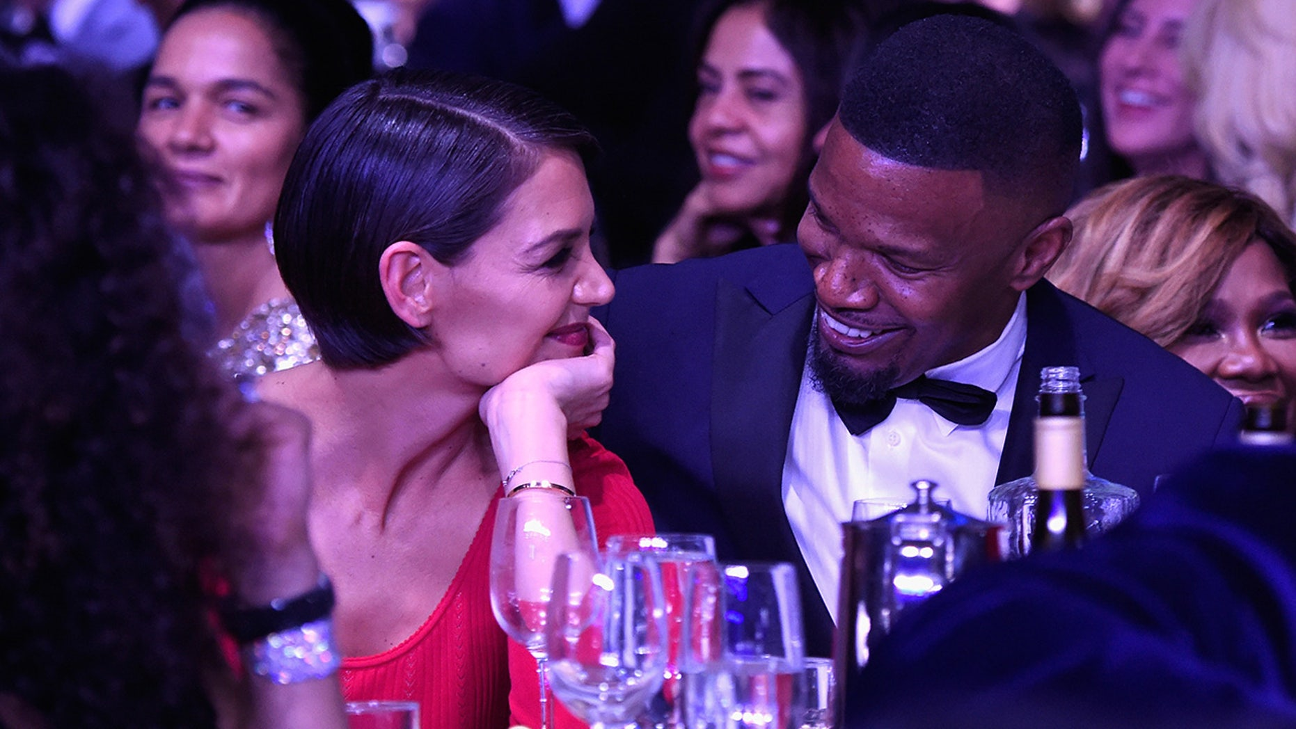 NEW YORK, NY - JANUARY 27:  Katie Holmes and Jamie Foxx attend the Clive Davis and Recording Academy Pre-GRAMMY Gala and GRAMMY Salute to Industry Icons Honoring Jay-Z on January 27, 2018 in New York City.  (Photo by Kevin Mazur/Getty Images for NARAS)