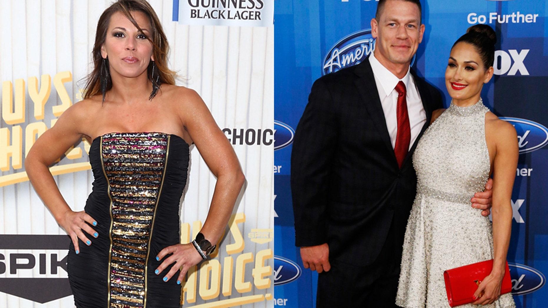 Mickie James (left) and John Cena with girlfriend Nikki Bella.