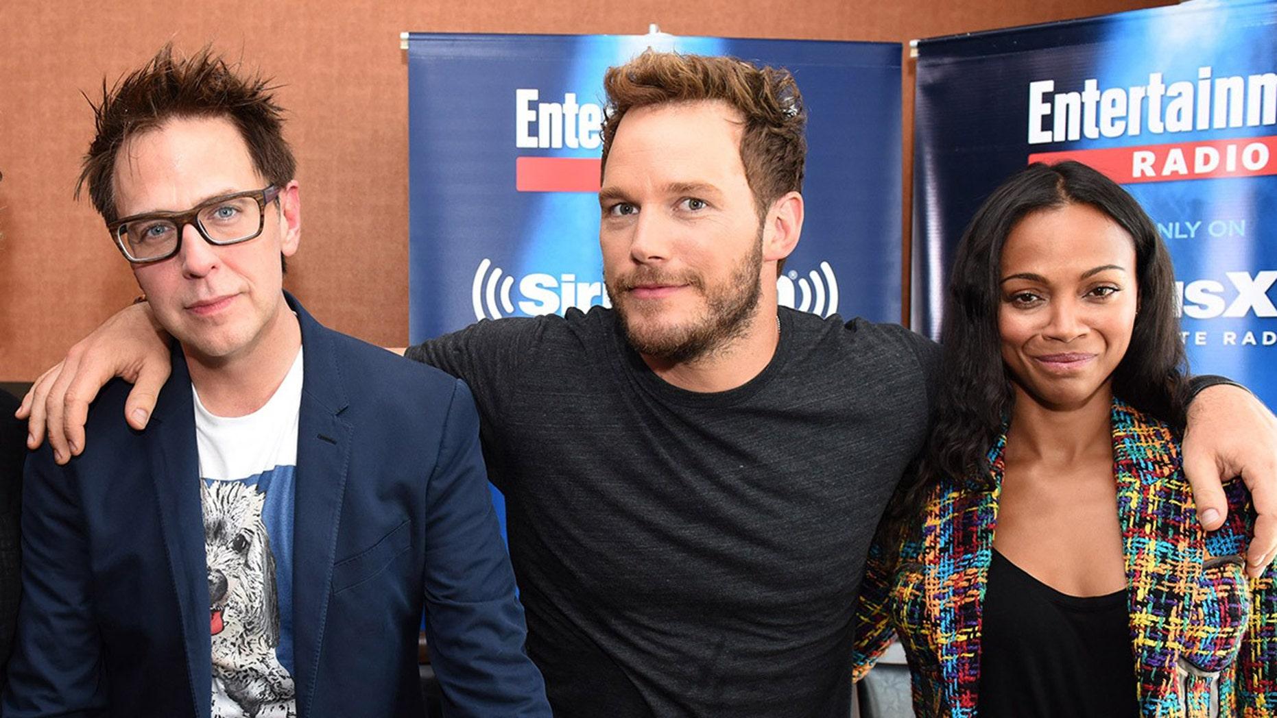"Director James Gunn, left, with ""Guardians of the Galaxy"" stars Chris Pratt, center, and Zoe Saldana."