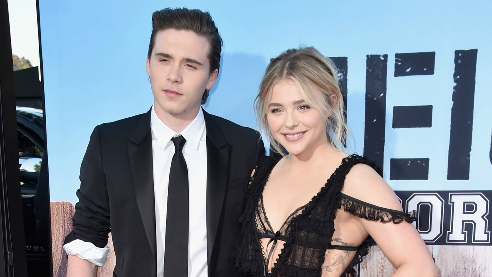 """Brooklyn Beckham (left) and actress Chloe Grace Moretz at the premiere of Universal Pictures' """"Neighbors 2: Sorority Rising."""""""