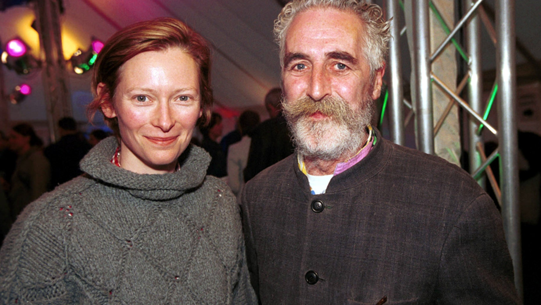 Actress Tilda Swinton and partner artist John Byrne attend the book launch for the 100th Canongate Classic at the National Gallery on April 27, 2004 in Edinburgh, Scotland.