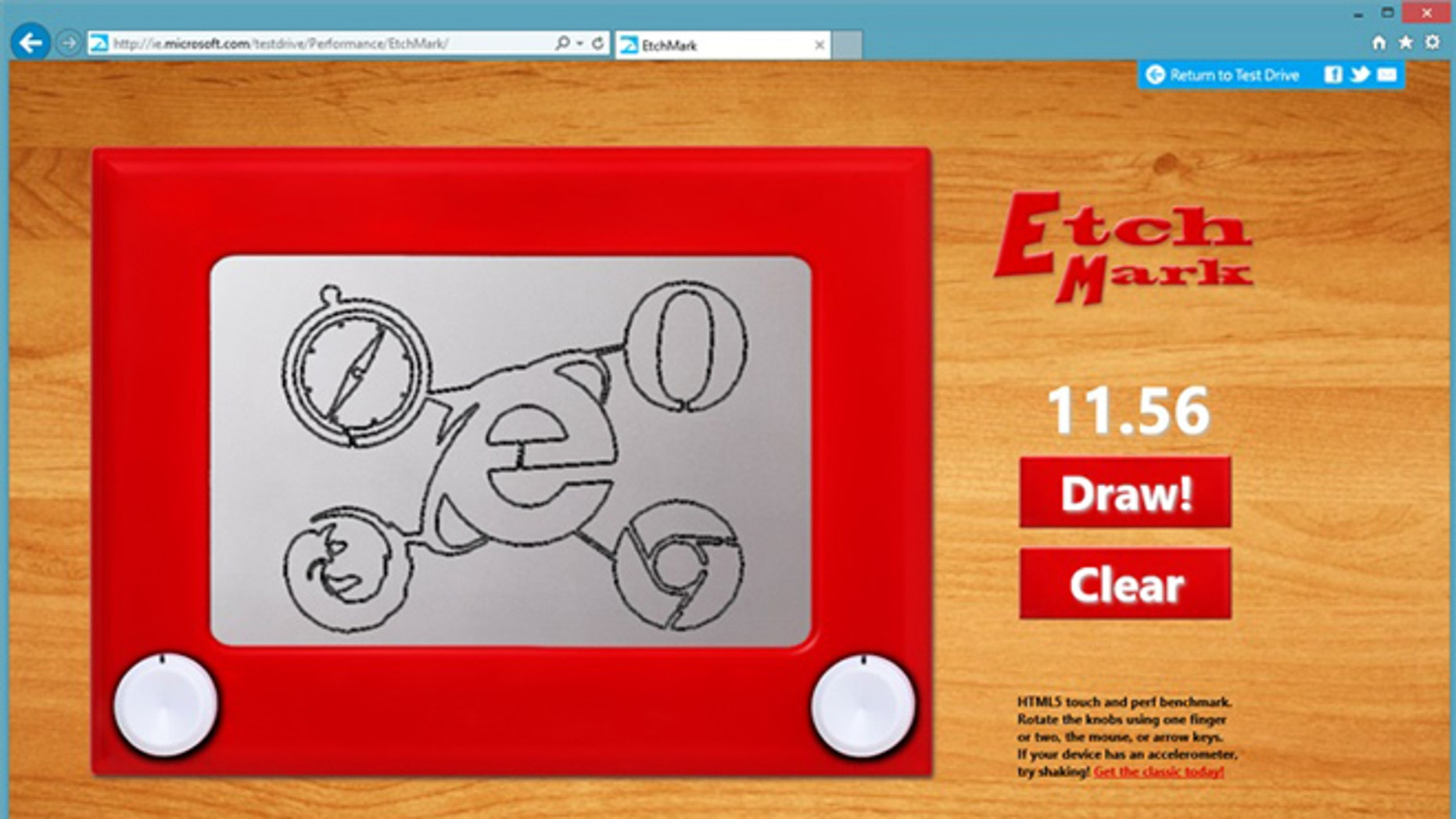 EtchMark is a new test drive demo from Microsoft that's an entertaining HTML5 retro-drawing experience.