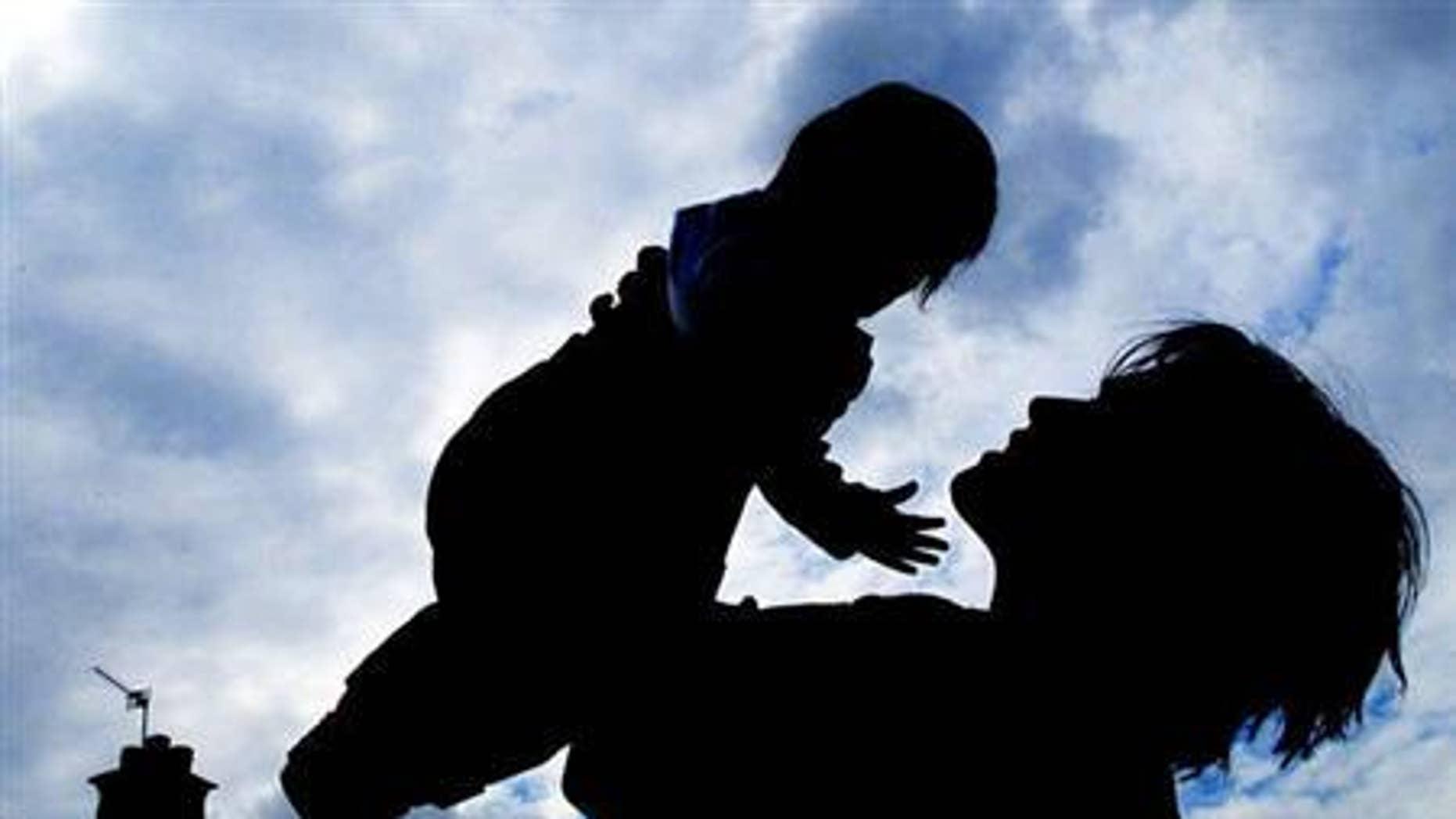 A parent and toddler.