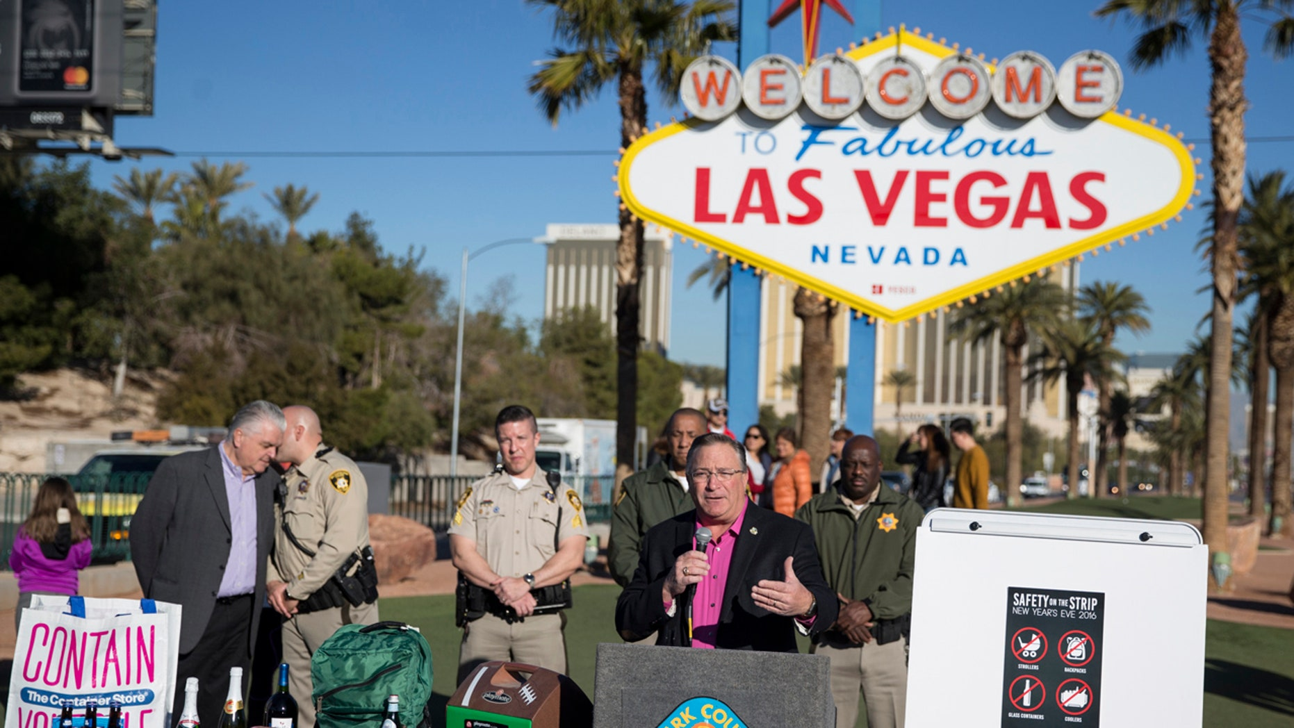 Las Vegas Mayor Pro Tem Steve Ross speaks during a press conference about the security plans for the 2017 New Year's celebrations on the Las Vegas Strip and downtown's Fremont Street Experience, Thursday, Dec. 29, 2016, in Las Vegas.