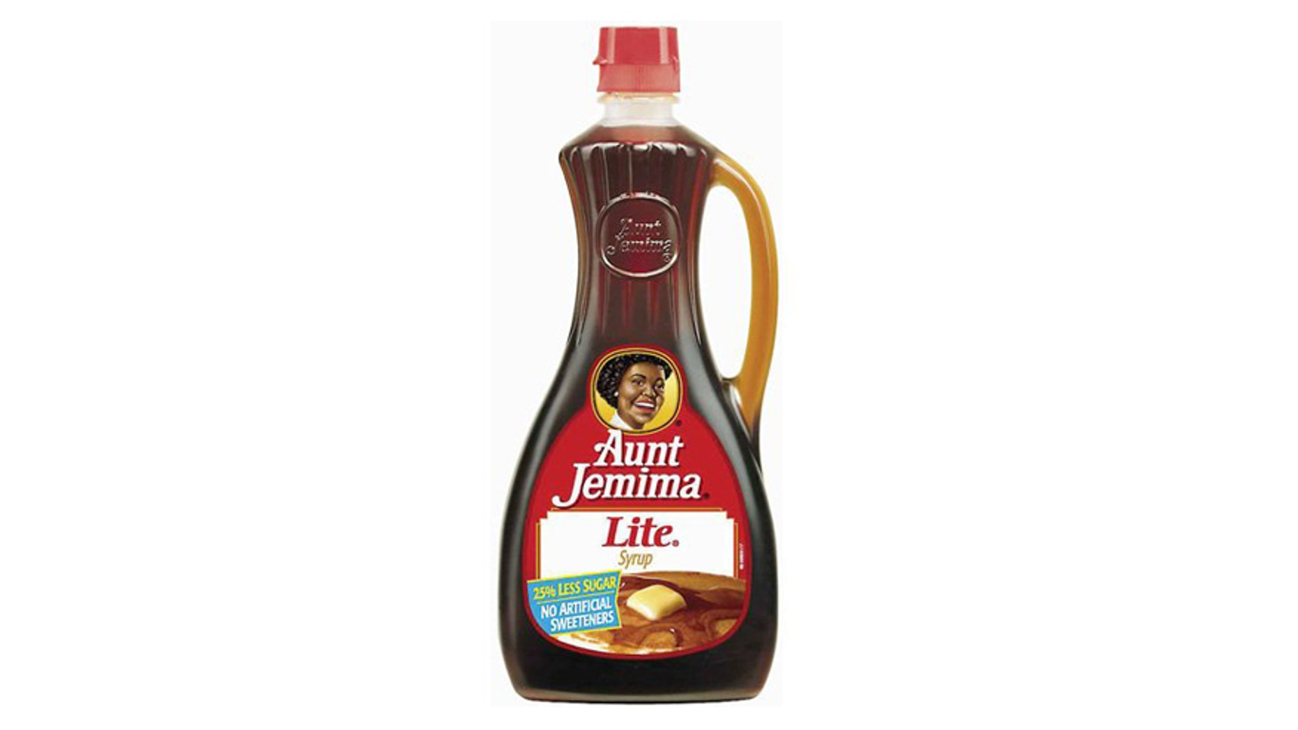 A bottle of syrup with the updated Aunt Jemima likeness.
