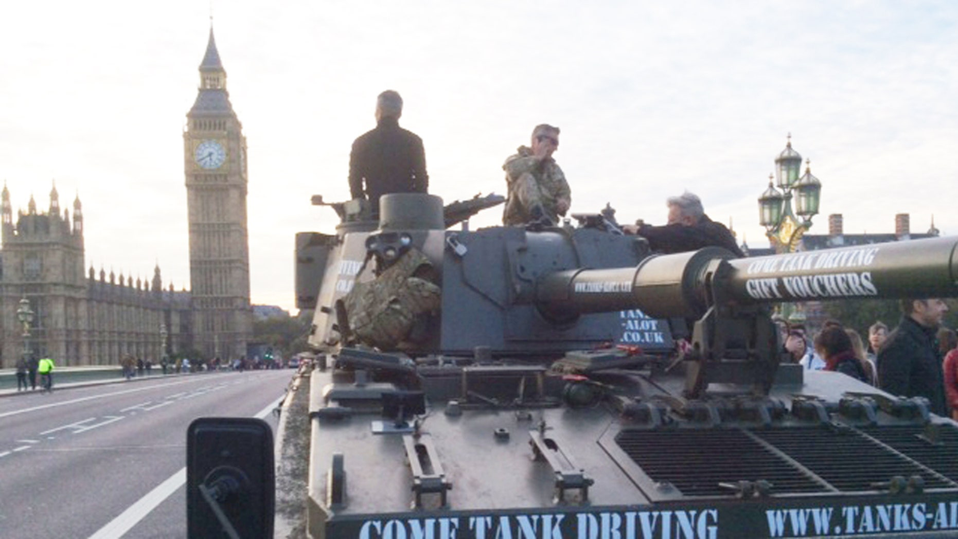 Cruise past Big Ben in decommissioned military tank.