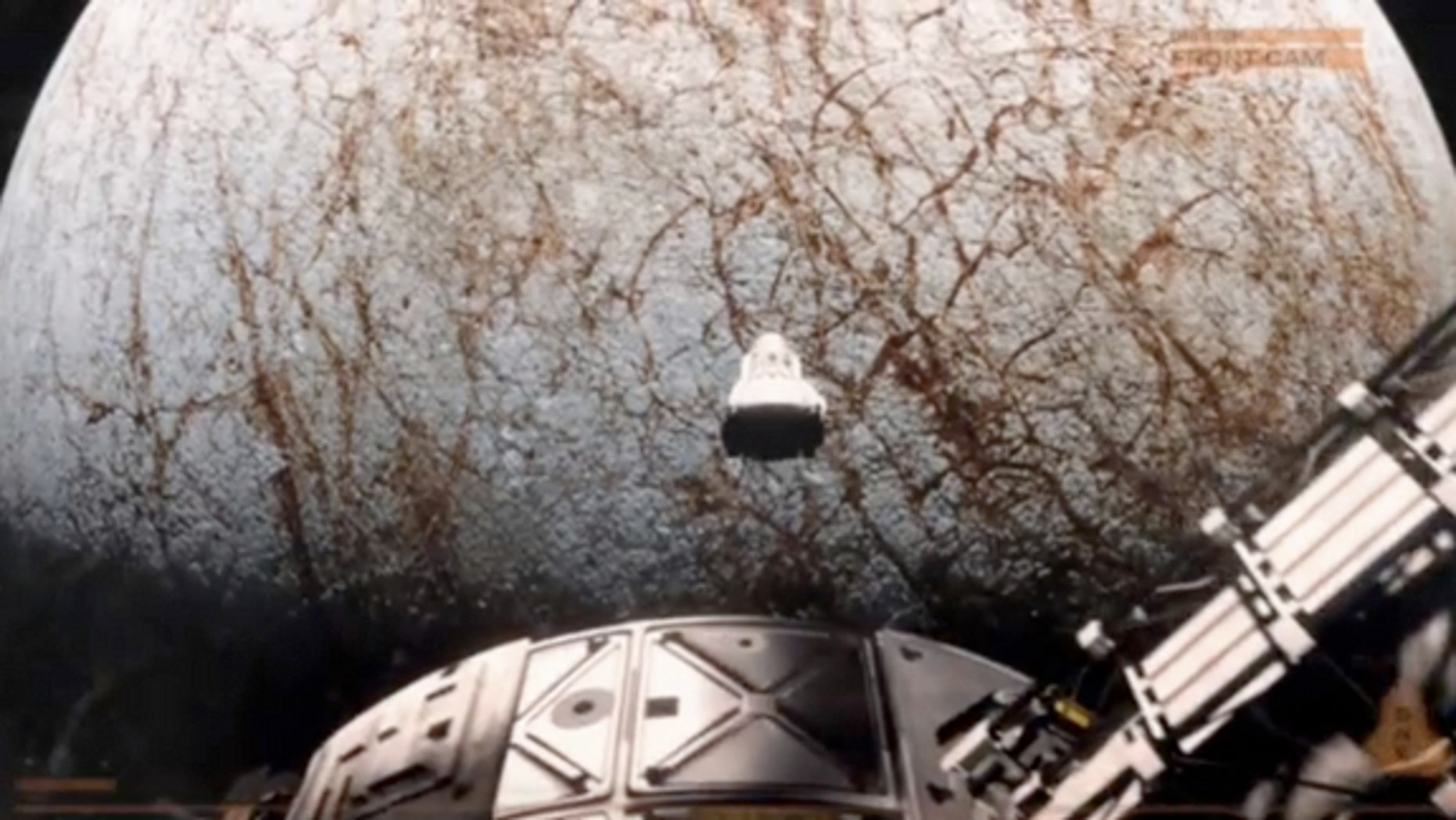 """A screenshot from the teaser for """"The Europa Report,"""" a sci-fi film that depicts a team of astronauts exploring Jupiter's icy moon Europa for alien life."""
