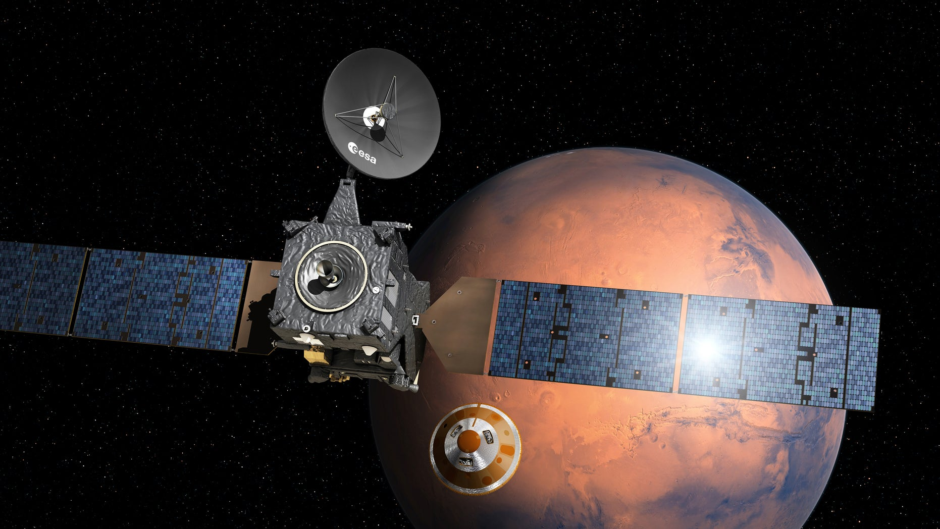 Artist''s impression provided by the European Space Agency, ESA, depicting the separation of the ExoMars 2016 entry, descent and landing demonstrator module, named Schiaparelli, center, from the Trace Gas Orbiter, TGO, left, and heading for Mars.