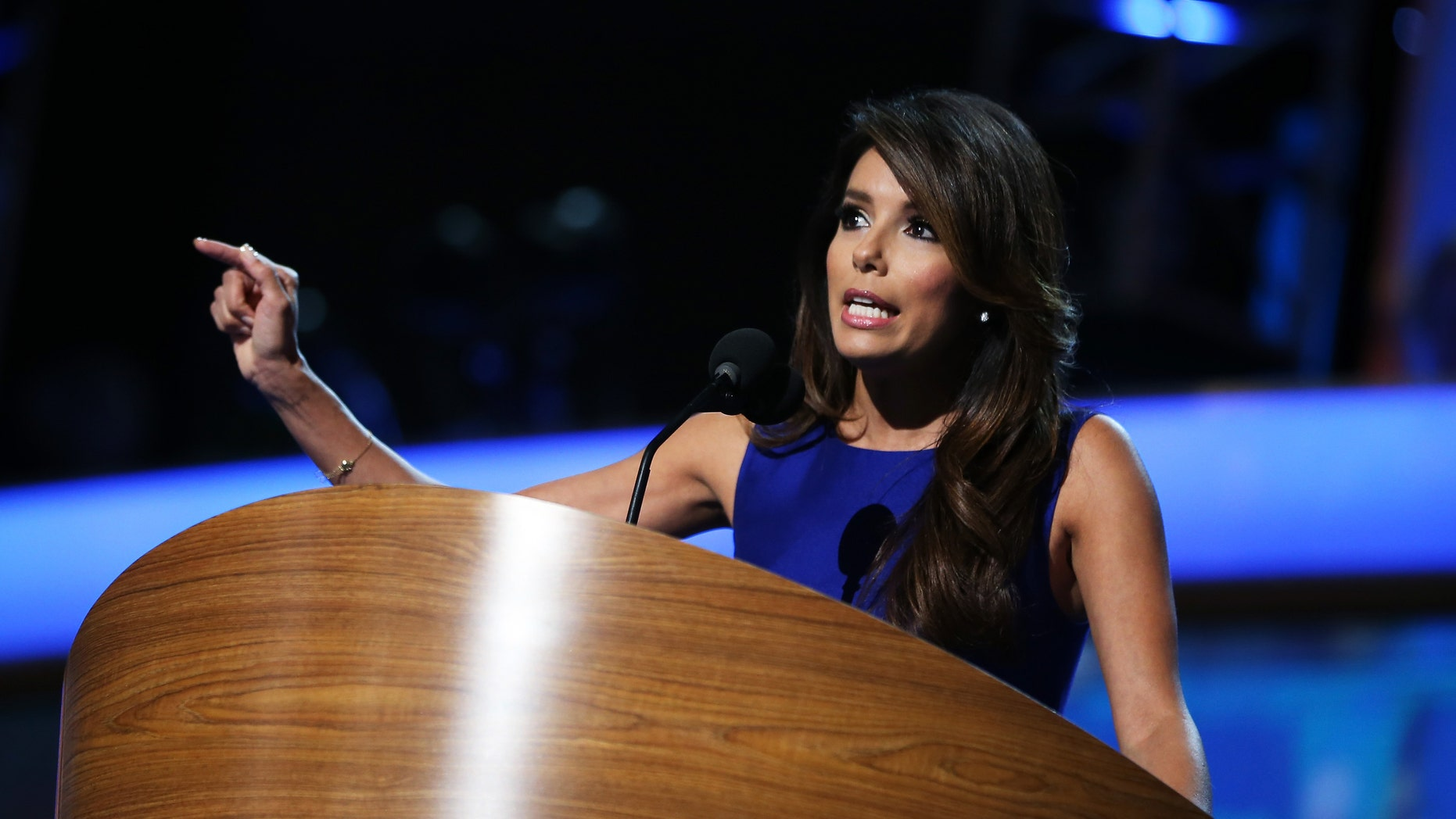 Actress Eva Longoria speaks on stage during the final day of the Democratic National Convention in 2012 in Charlotte, North Carolina.
