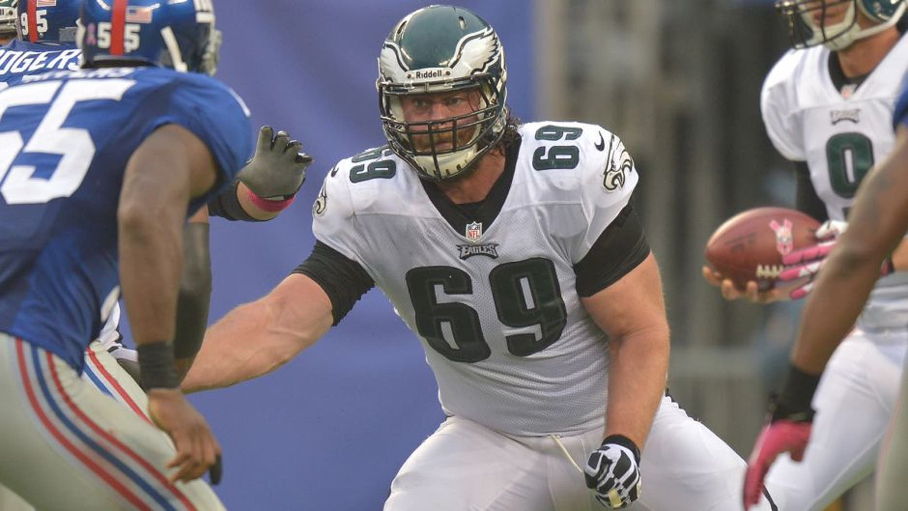 EAST RUTHERFORD, NJ - OCTOBER 06: Evan Mathis #69 of the Philadelphia Eagles blocks against the New York Giants at MetLife Stadium on October 6, 2013 in East Rutherford, New Jersey. The Eagles won 36-21. (Photo by Drew Hallowell/Philadelphia Eagles/Getty Images)