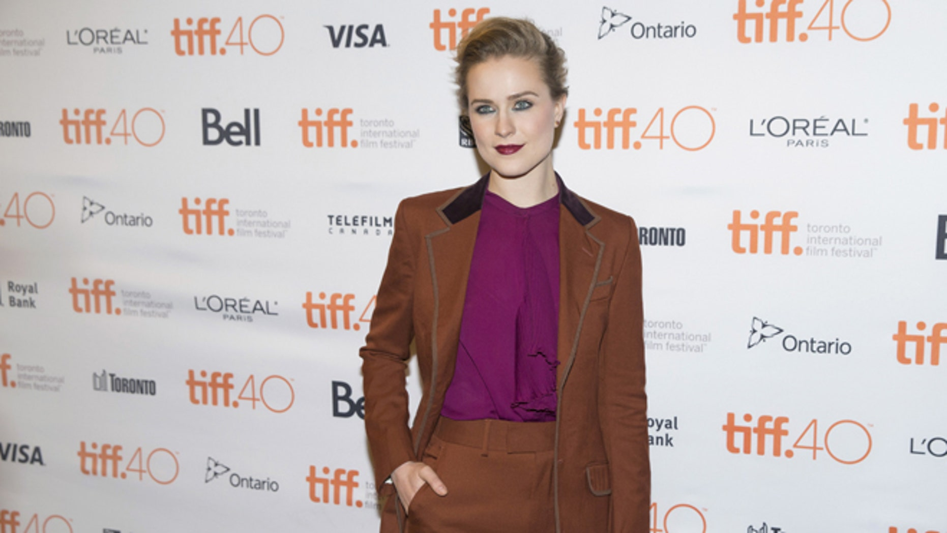 """September 12, 2015. Evan Rachel Wood arrives on the red carpet for the film """"Into the Forest"""" during the 40th Toronto International Film Festival in Toronto, Canada."""
