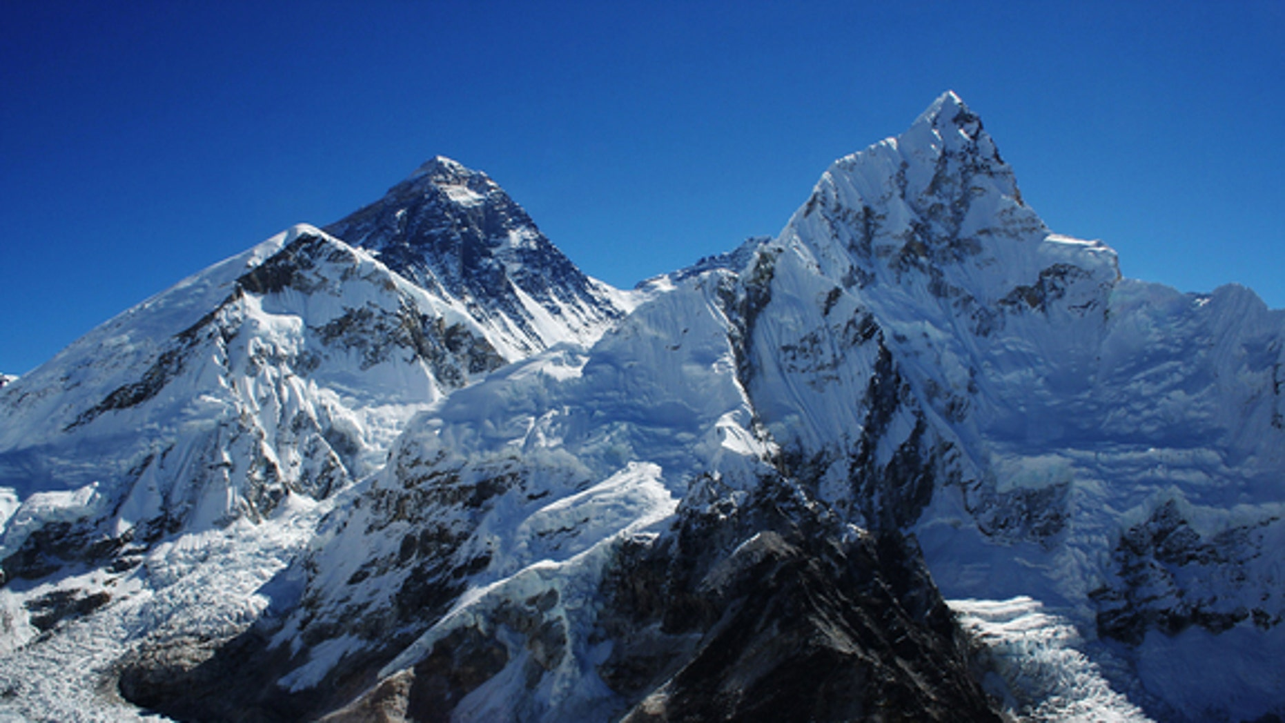 Mount Everest is the second peak from the left.