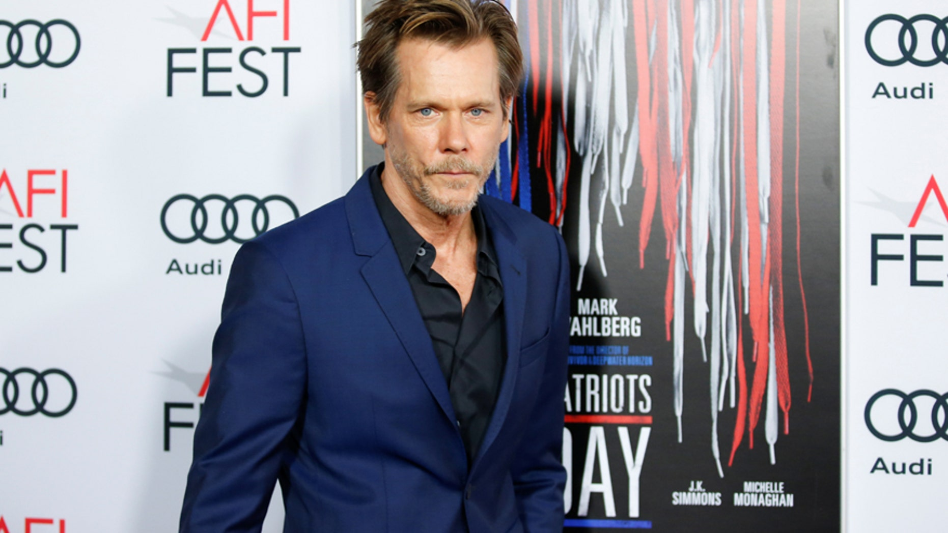 """Actor Kevin Bacon poses at AFI Fest's special closing night gala presentation of the film """"Patriots Day"""" in Los Angeles, California, U.S., November 17, 2016."""