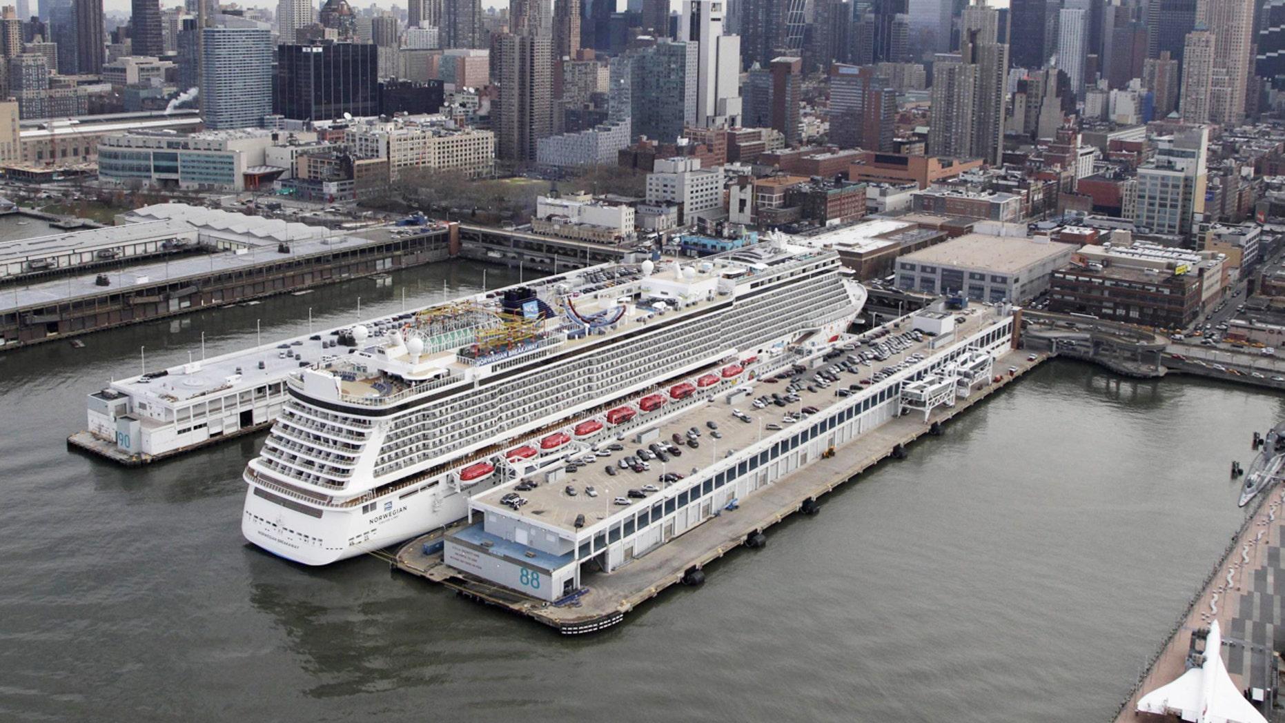 The Norwegian Breakaway docked in New York City.