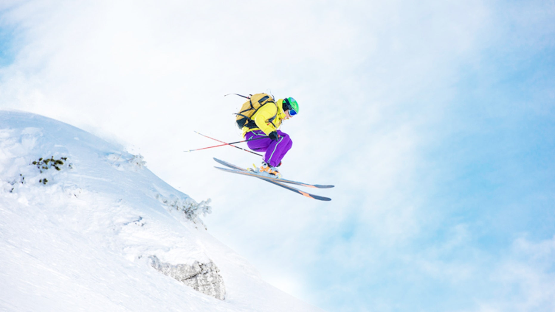 Shot of an extreme skier's jump in the air.