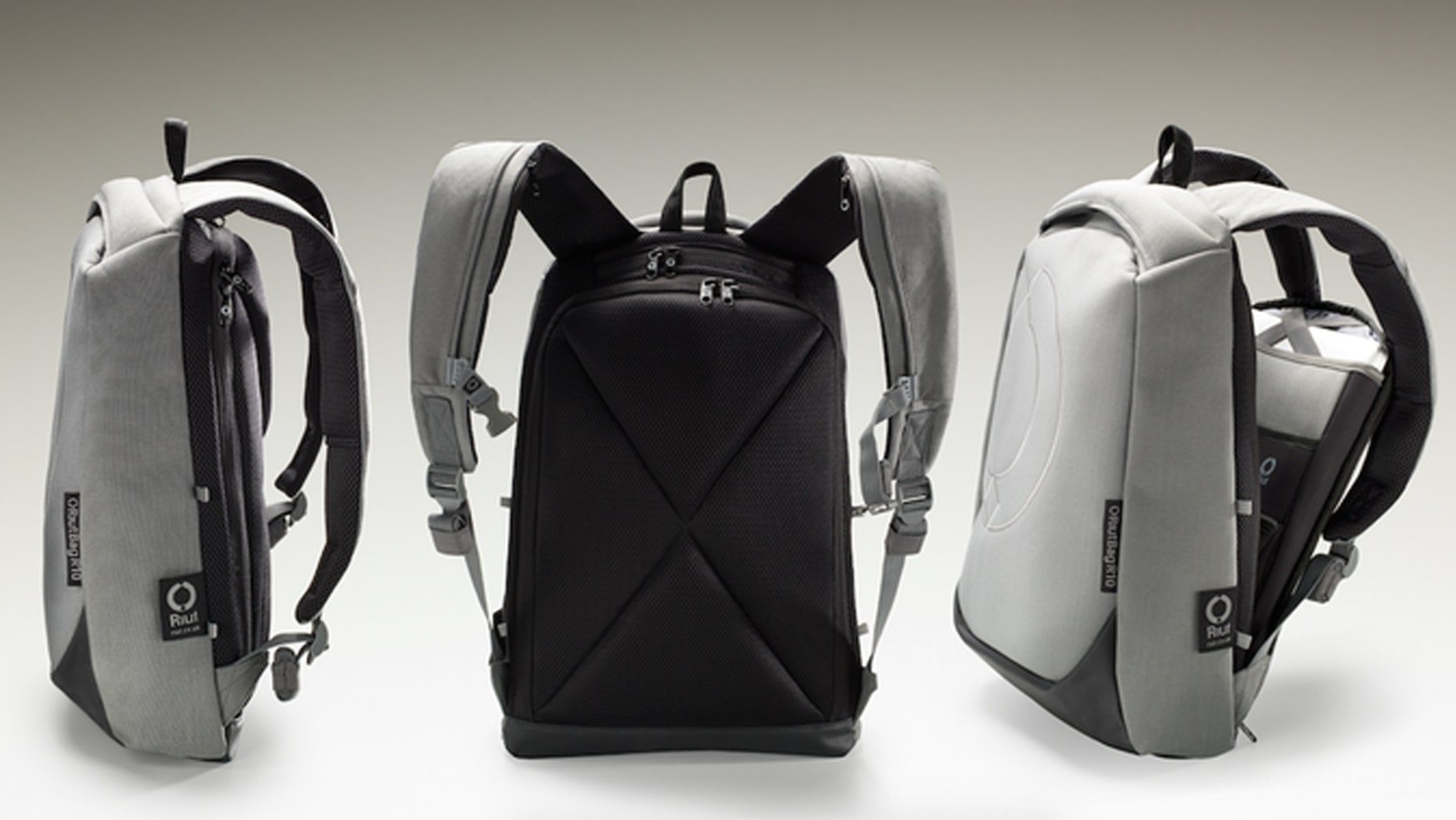 The bag's design features zippers on the interior.