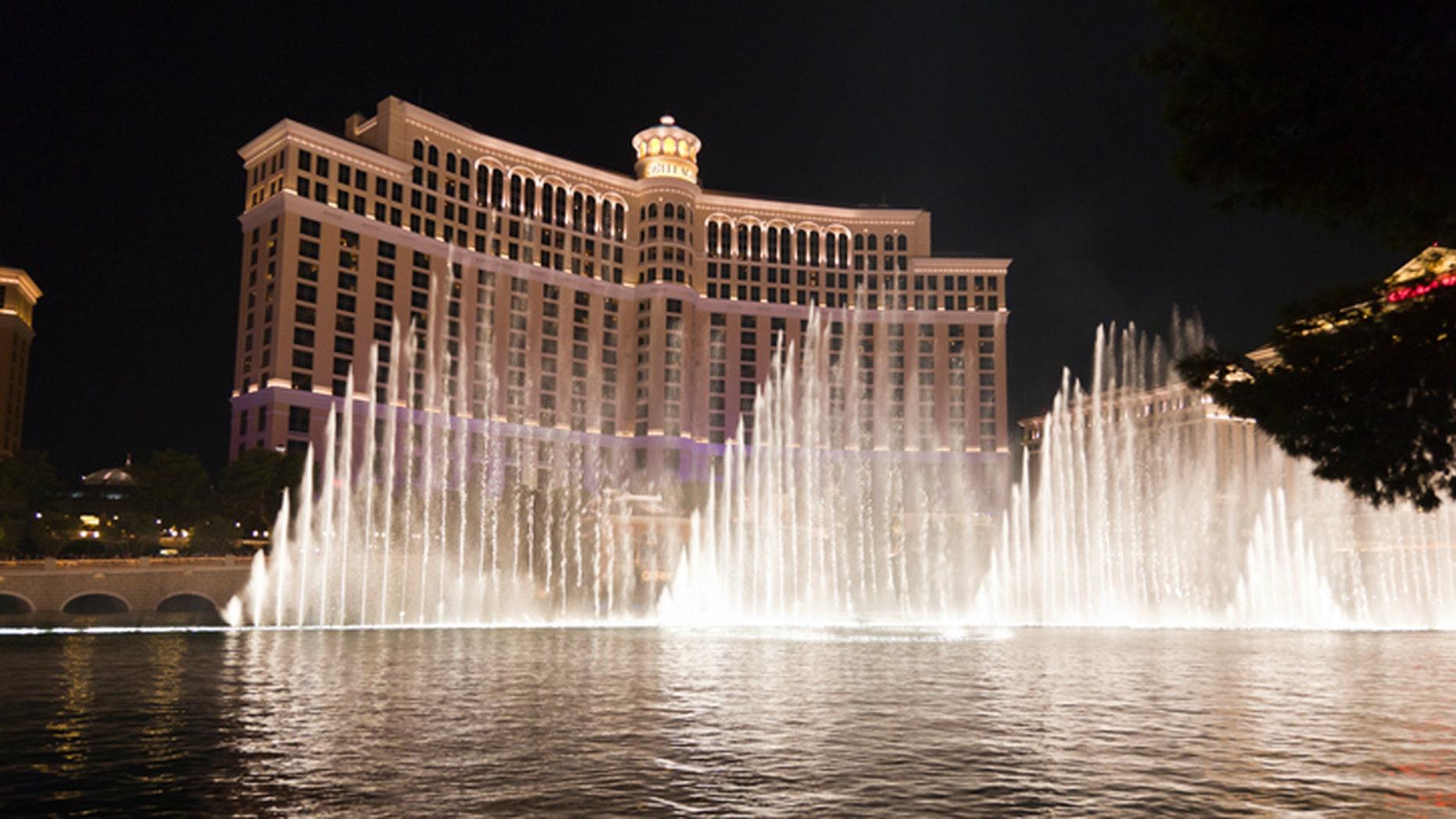 Las Vegas, Nevada (USA) - August 29, 2011: The fountain show at the Bellagio Hotel in Las Vegas, Nevada