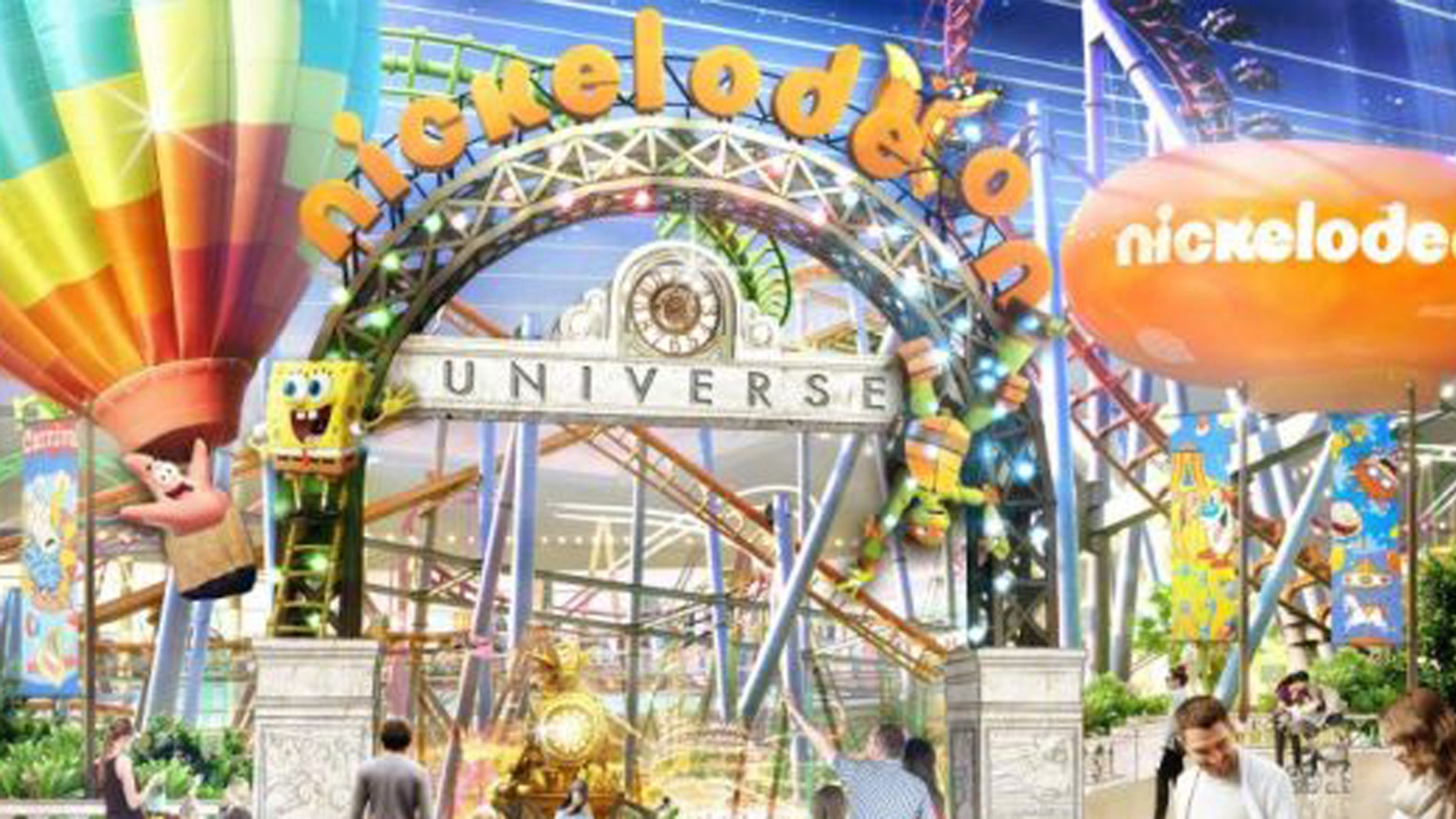 A rendering of the entrance to the new Nickelodeon Universe theme park in Rutherford, N.J.