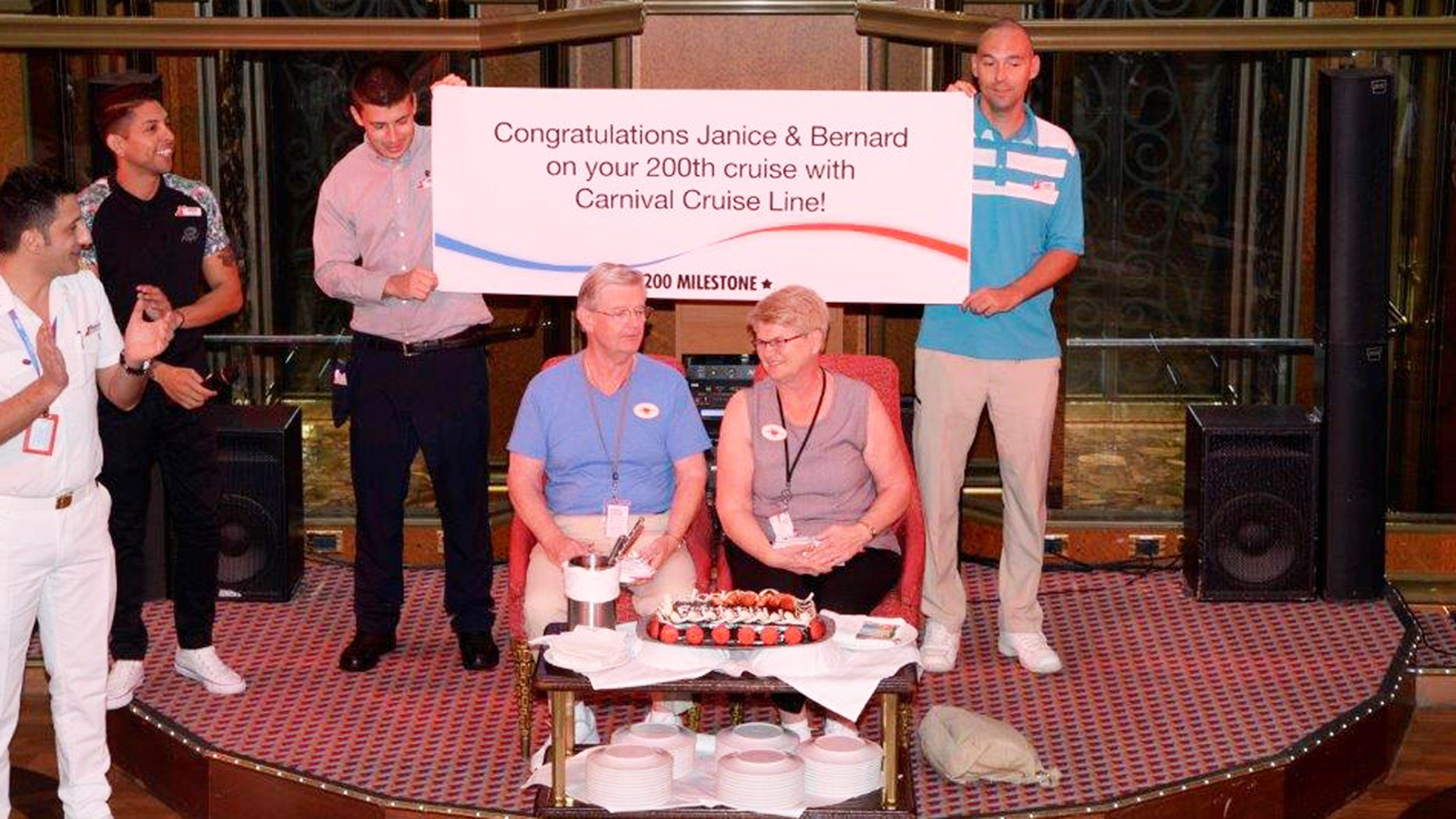 Bernard and Janice Caffary are welcomed aboard their 200th Carnival cruise sailing.
