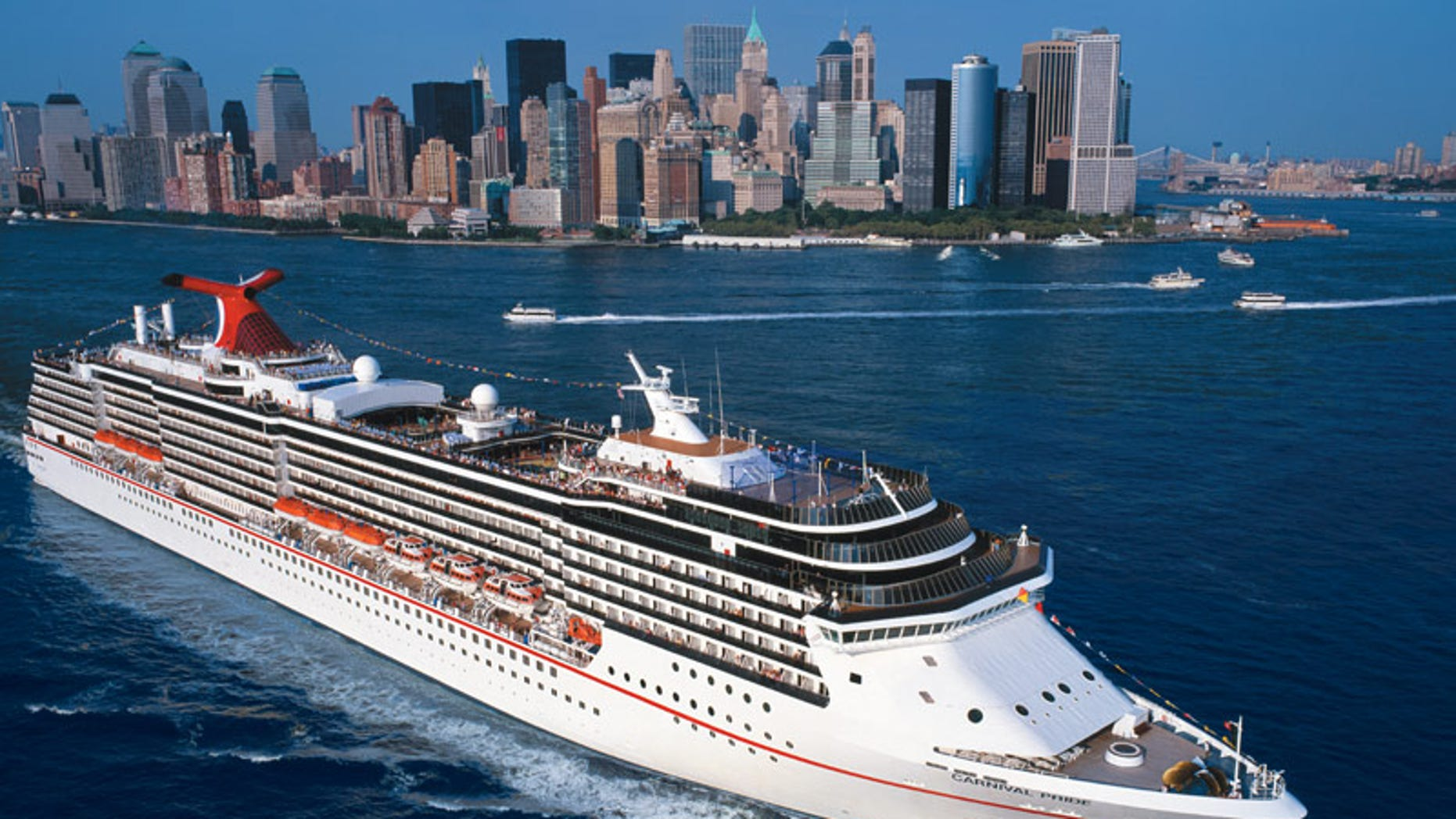 The Carnival Pride, pictured, was returning from an eight-day trip to the Bahamas when it crashed into a gangway while docking.