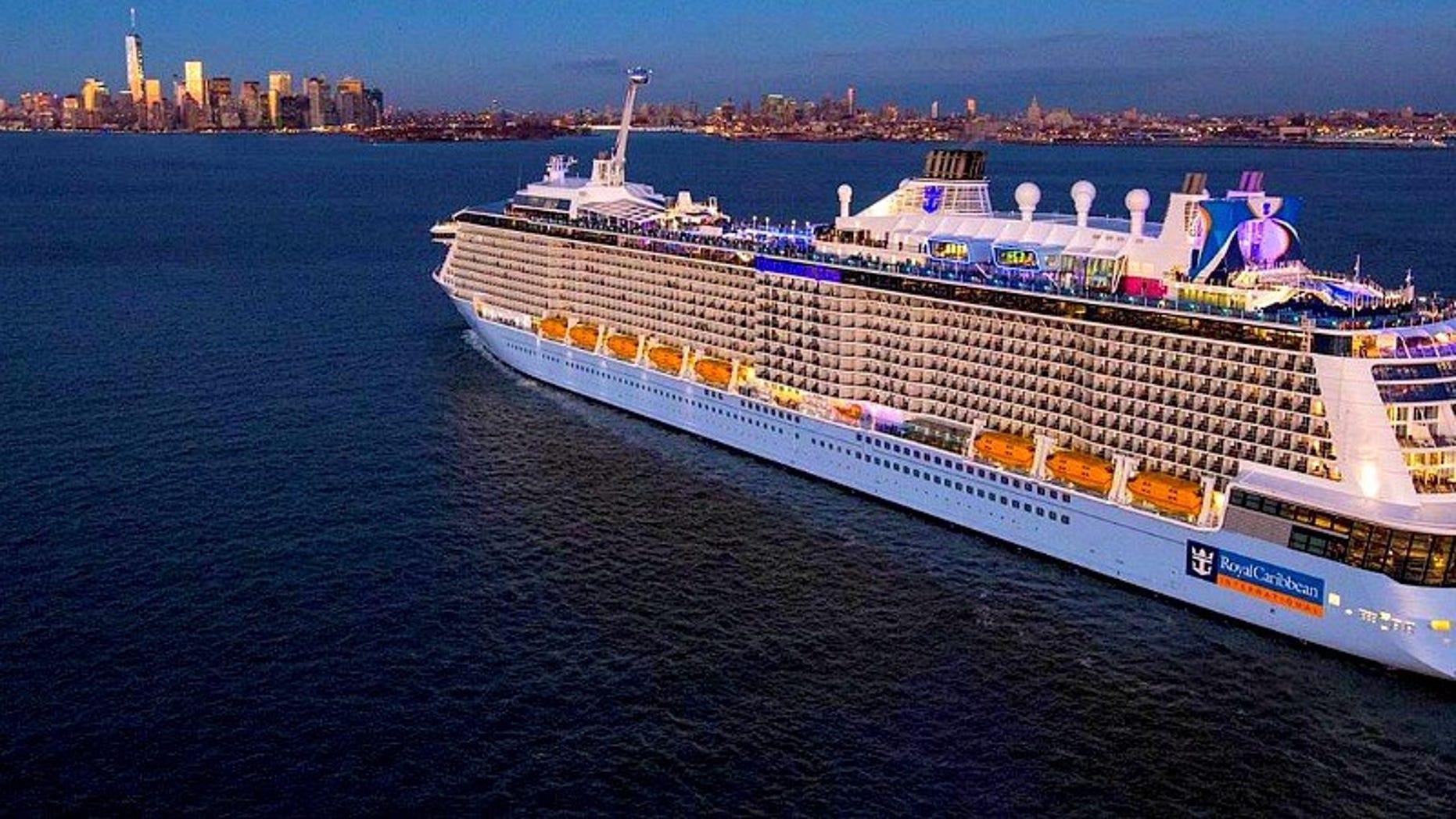 The Quantum of the Seas sets sail around New York City.