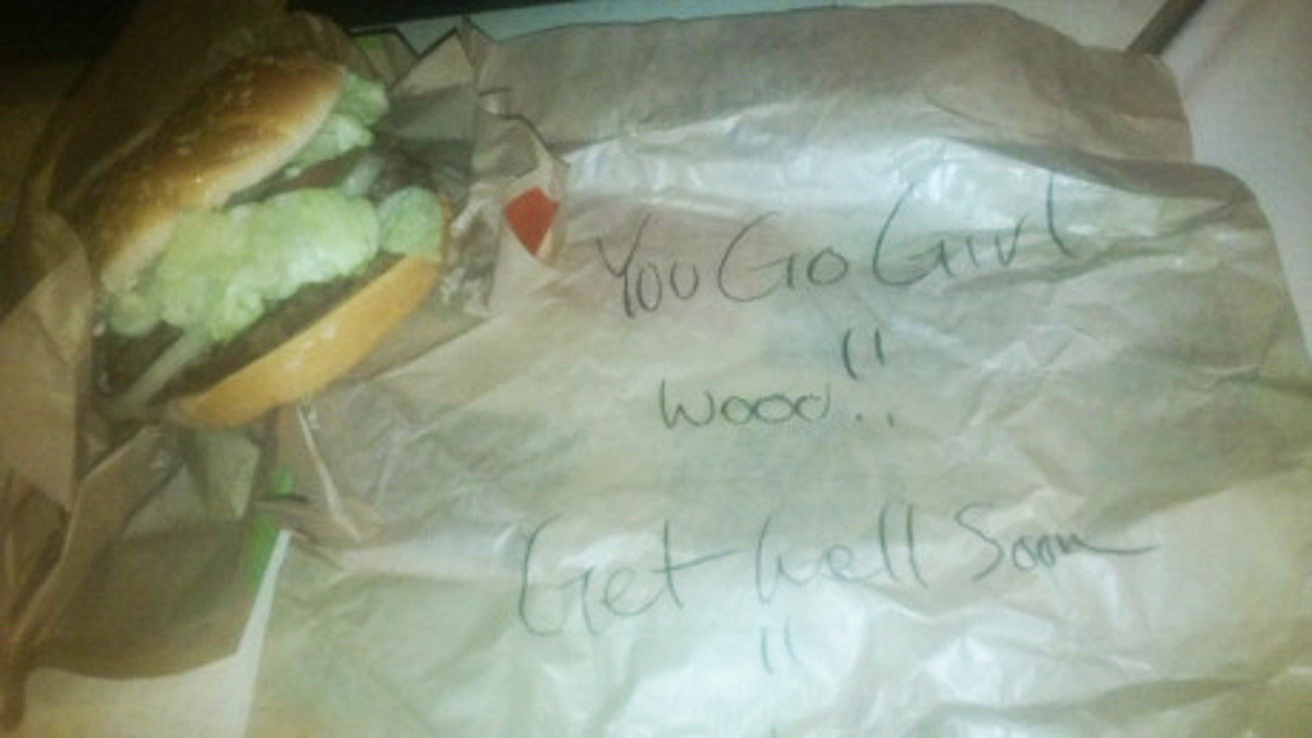A Burger King employee penned an encouraging note on a cancer pateint's order.