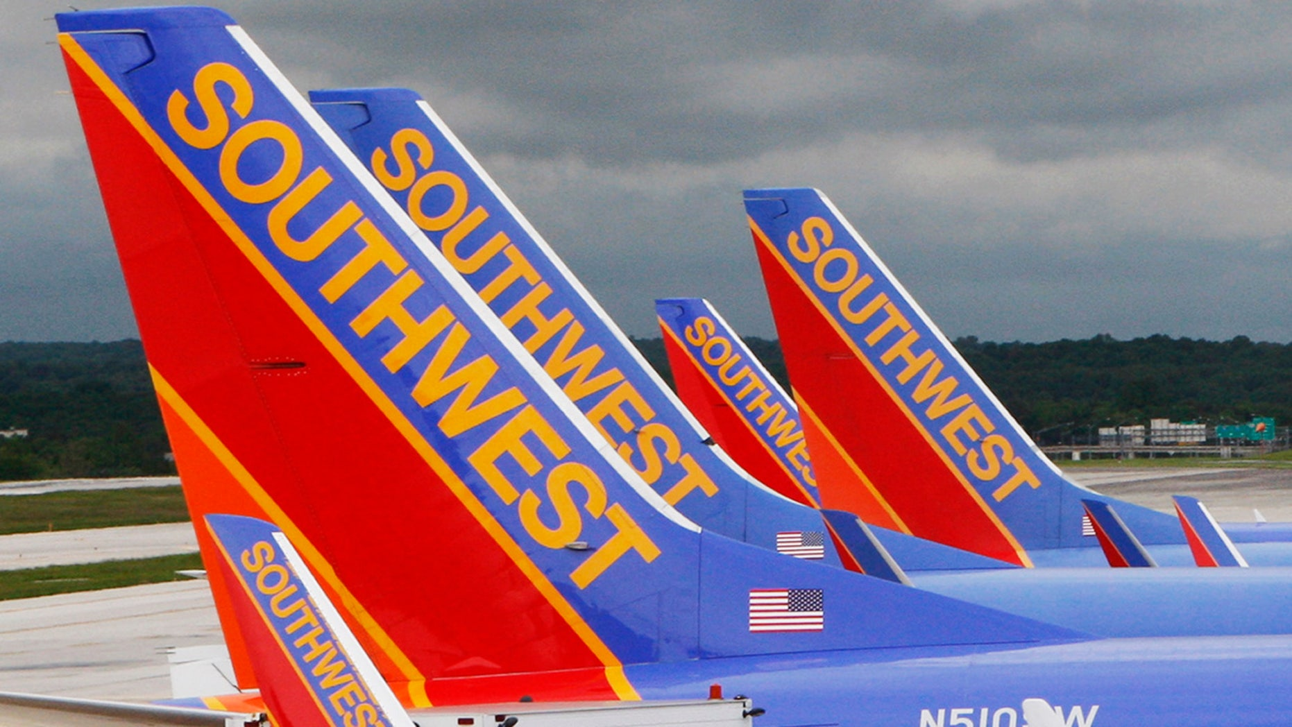 Southwest planes are parked at their gates at Baltimore Washington International Airport in Baltimore.