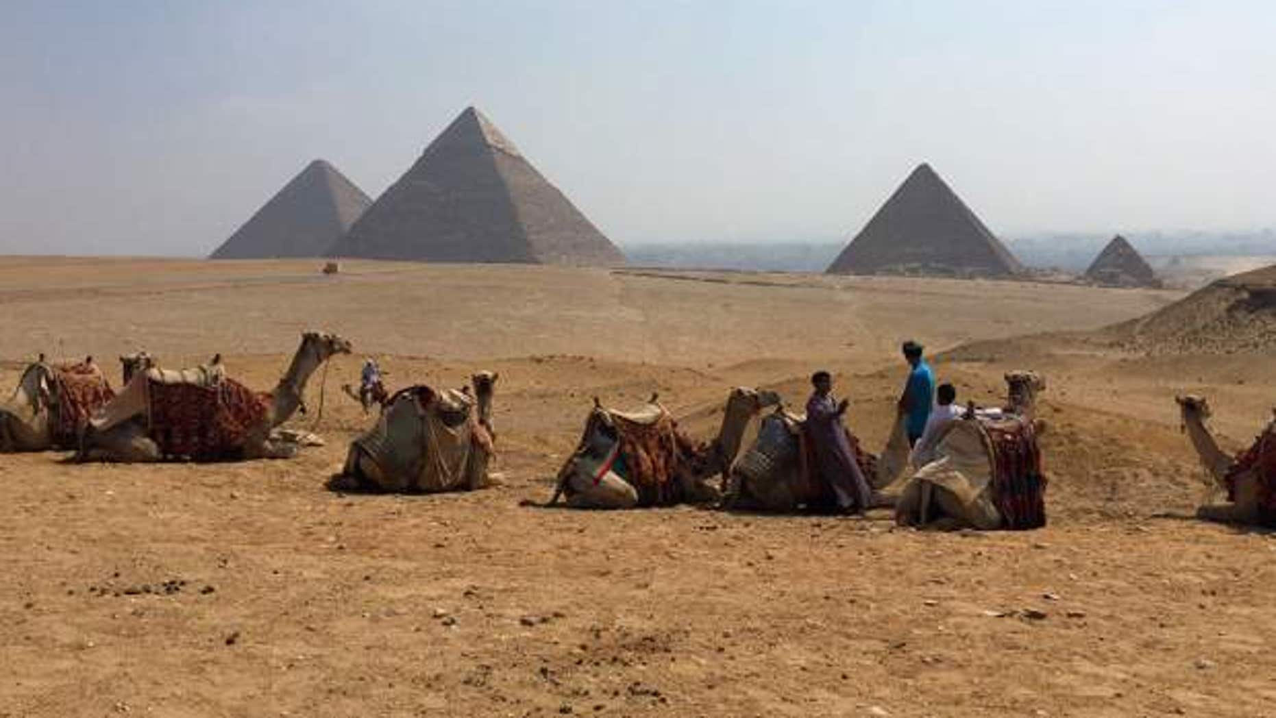 Camels rest between rides with their owners against the backdrop of the pyramids in Giza, Egypt. With Egypt's once-thriving tourism industry in decline, visitors face smaller crowds-- but eager tour guides and pushier souvenir vendors.