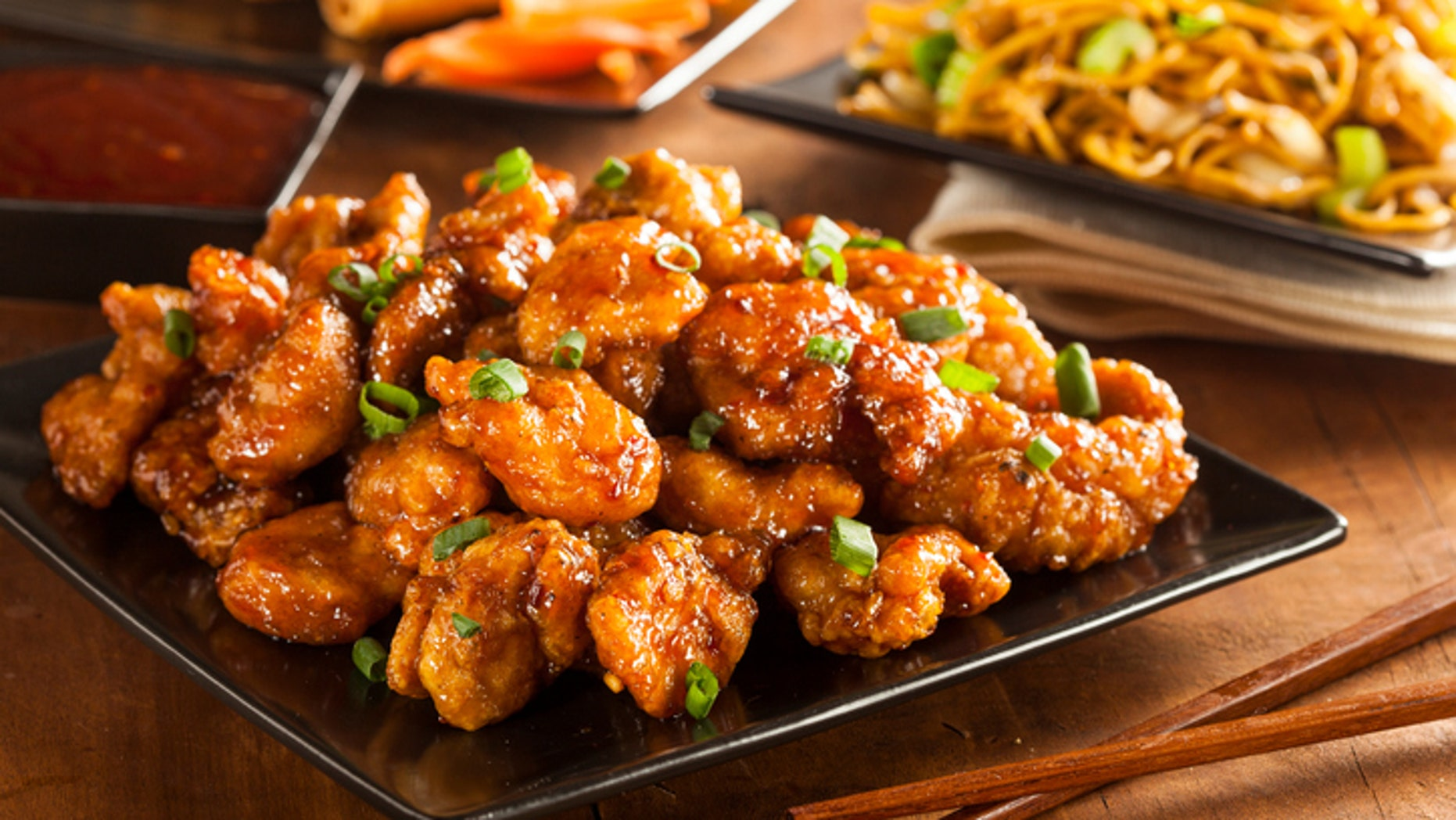 Asian Oranage Chicken with Green Onions for Dinner