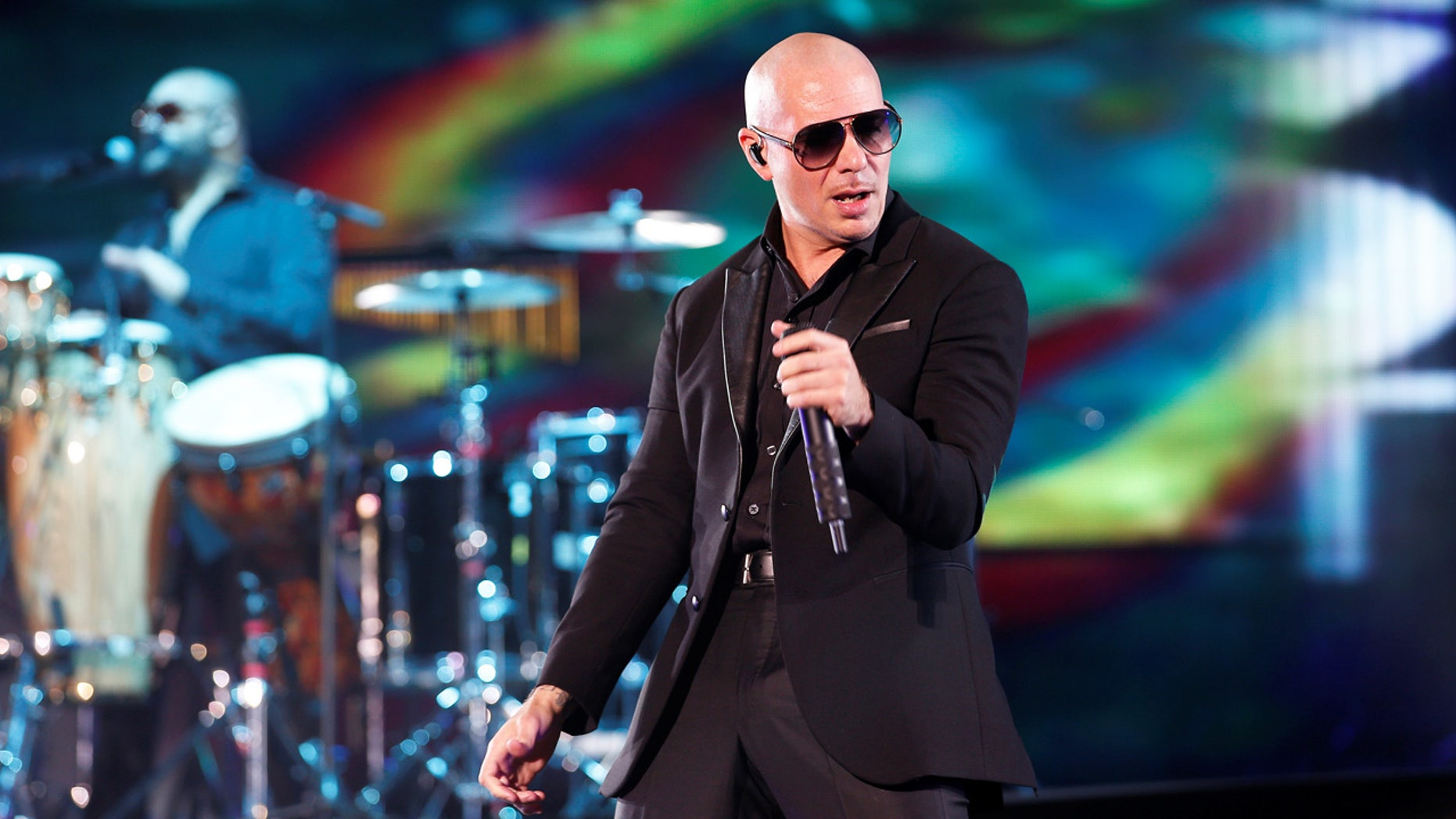 Rapper Pitbull performs during the 15th Mawazine World Rhythms International Music Festival in Rabat, Morocco.