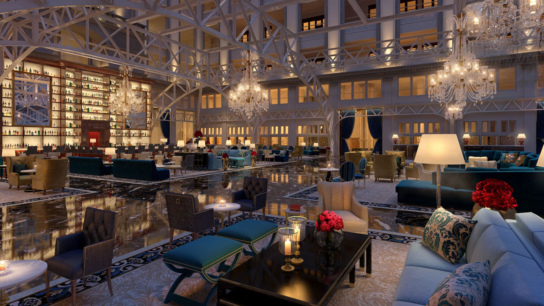 Inside the lavishly appointed lobby bar at Donald Trump's newest hotel property in the nation's capital.