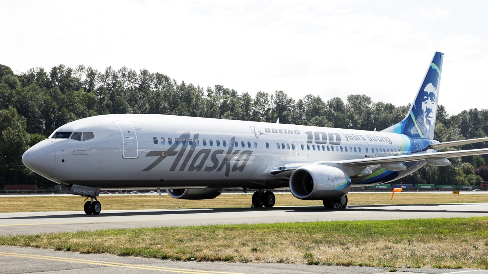 An Alaska Airlines plane is pictured with a paint job to mark the centennial of The Boeing Company in Seattle, Washington July 15, 2016.  REUTERS/Jason Redmond - RTSI89G