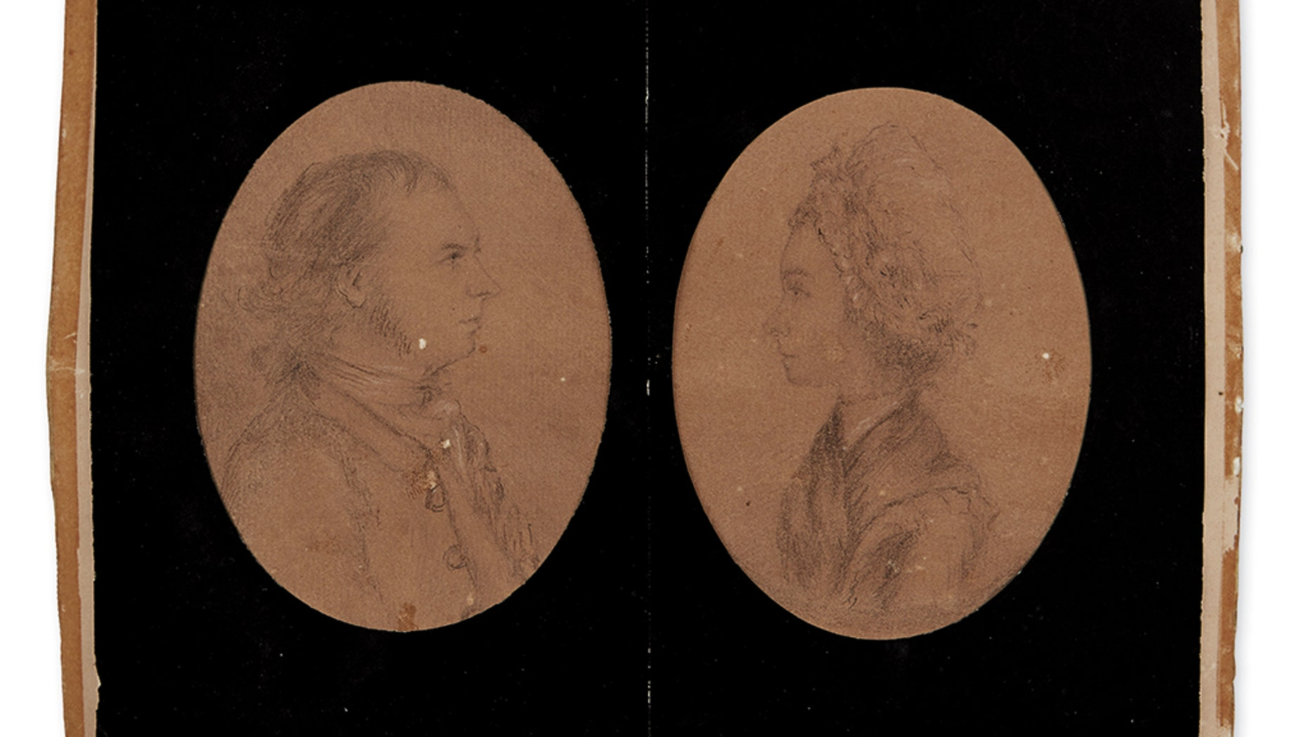 Two portraits drawn in Albany during the Revolutionary War by British spy John Andre.