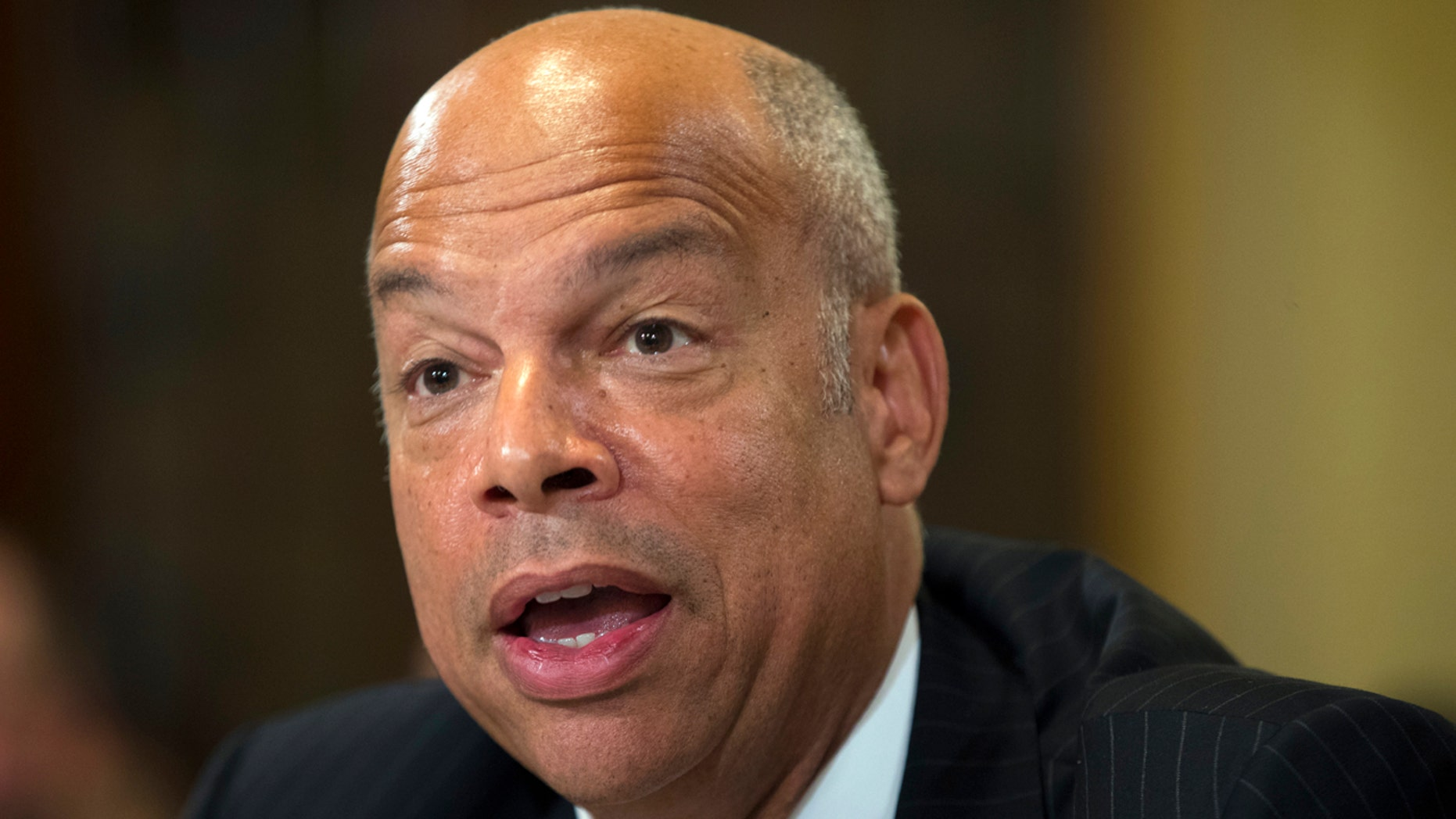 In this July 14, 2016, file photo, then-Homeland Security Secretary Jeh Johnson testifies on Capitol Hill in Washington. Johnson faces questions on june 21, 2017,