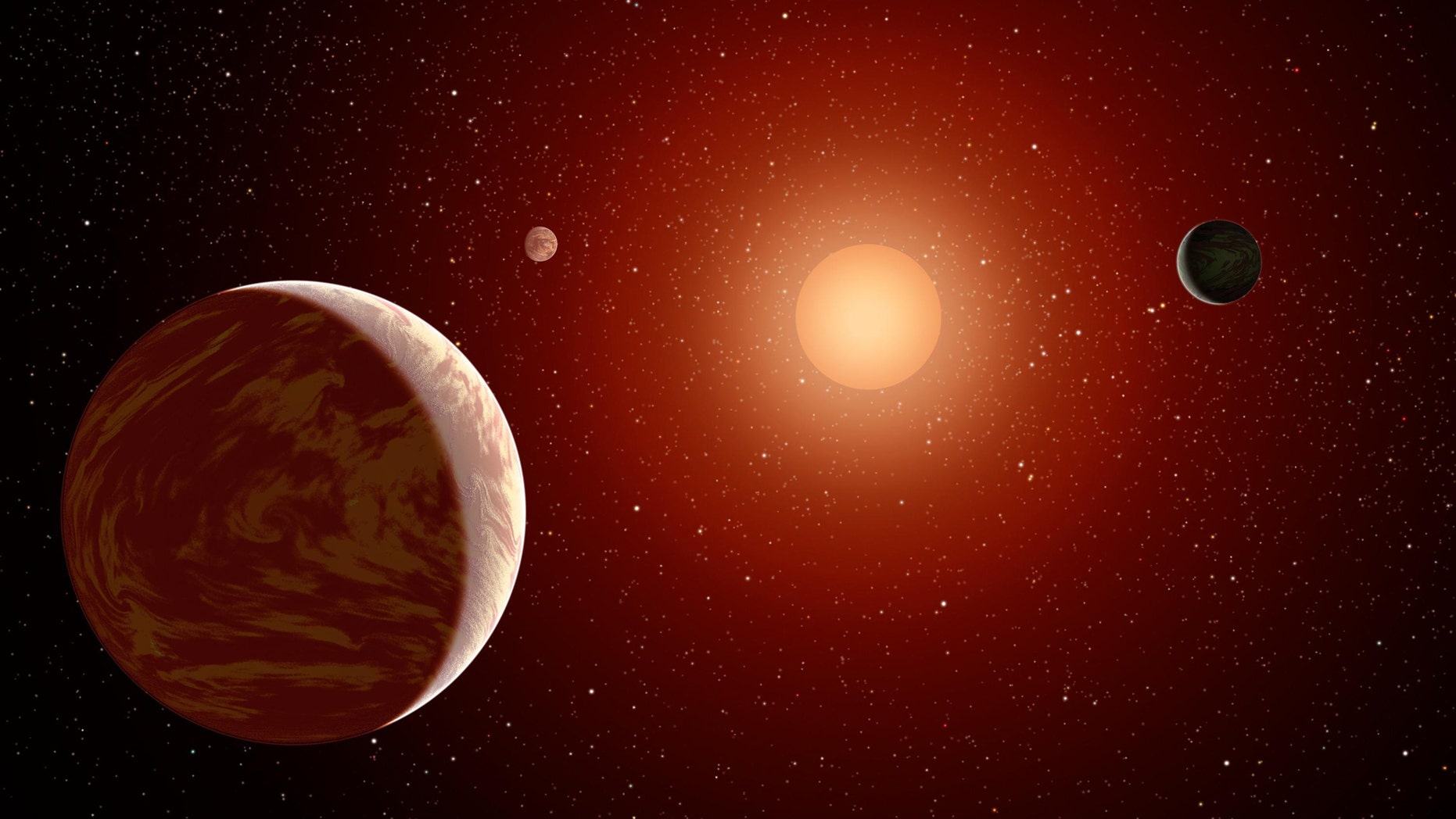 Artist's impression of a M dwarf star surrounded by planets. (Credit: NASA Astrobiology Institute)