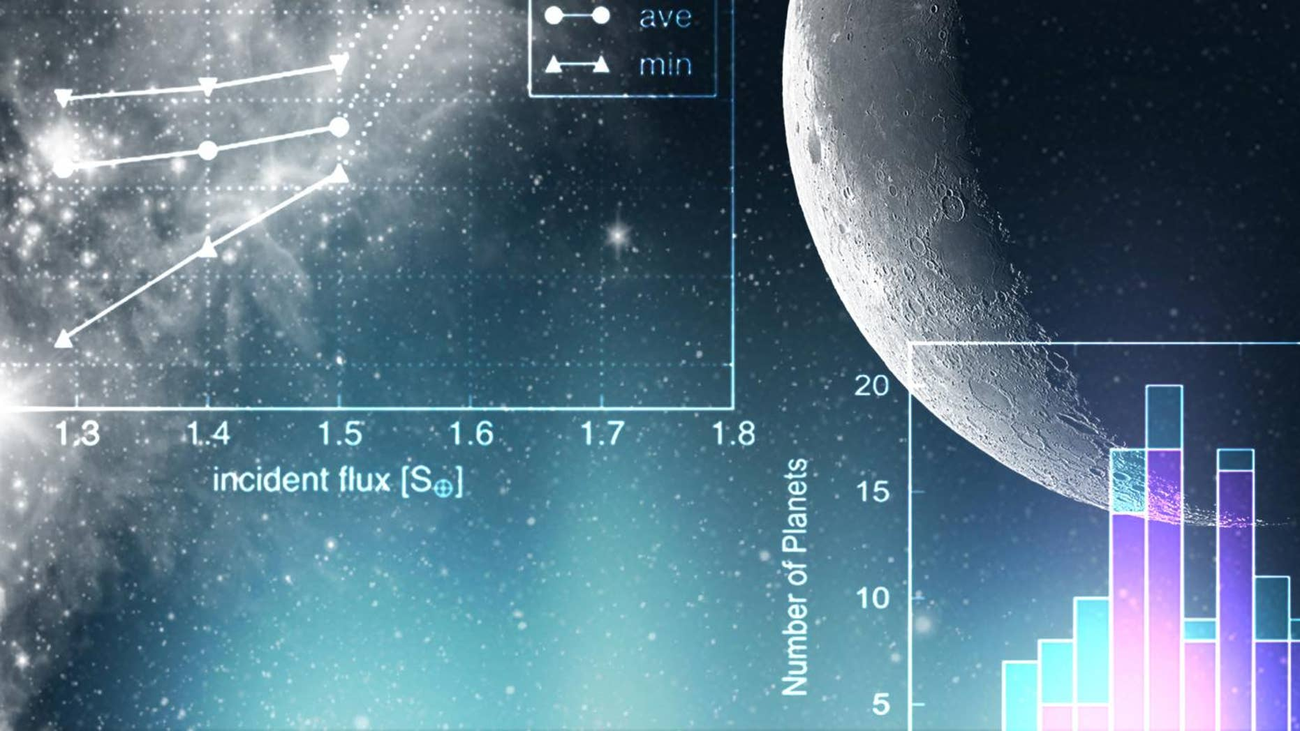 An illustration with exoplanet data in the foreground.