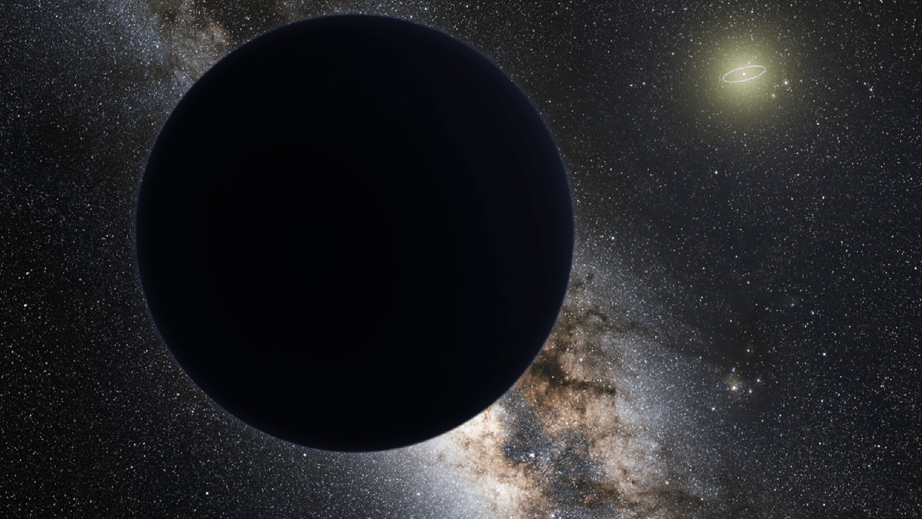 """A possible """"Planet Nine"""" in Earth's solar system would orbit far beyond Neptune's orbit (visible as a bright ring around the sun in this artist's illustration)."""