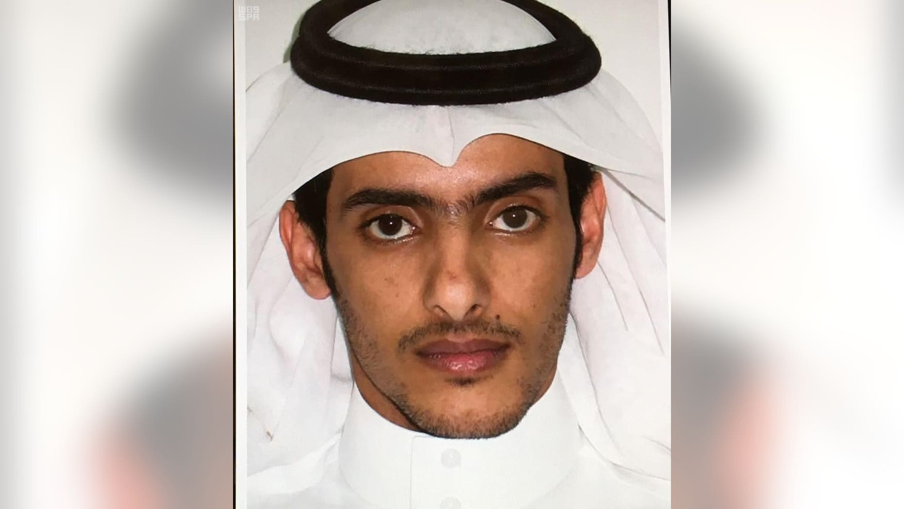 This picture released by the state sponsored Saudi Press Agency purports to show Taie bin Salem bin Yaslam al-Saya'ari who was killed Saturday by police in the capital's northern Yasmeen neighborhood. Saudi Arabia says the man who planned a suicide bombing in July outside of the mosque where the Prophet Muhammad is buried is one of the two extremists killed in a shootout with police in Riyadh. (Saudi Press Agency via AP)