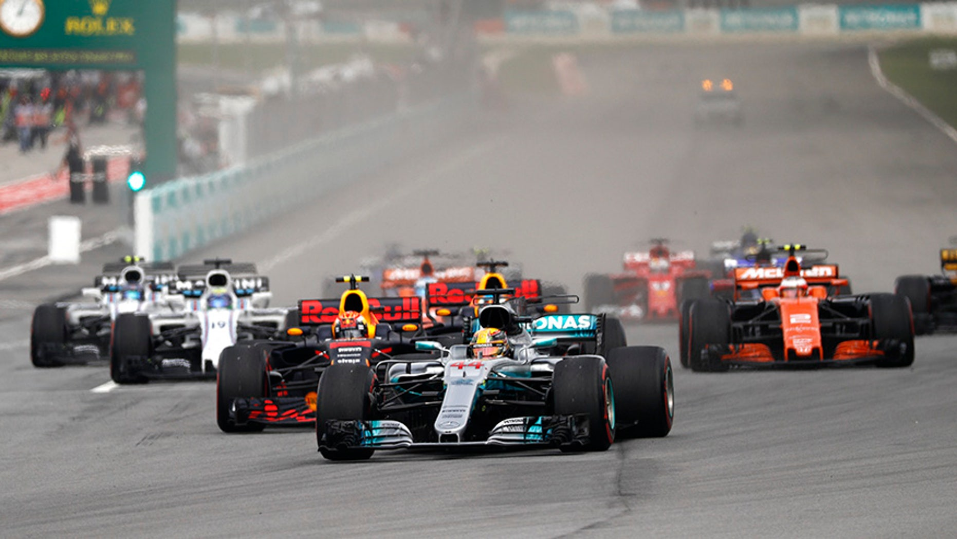 Lewis Hamilton leads the field at the Malaysian Formula One Grand Prix