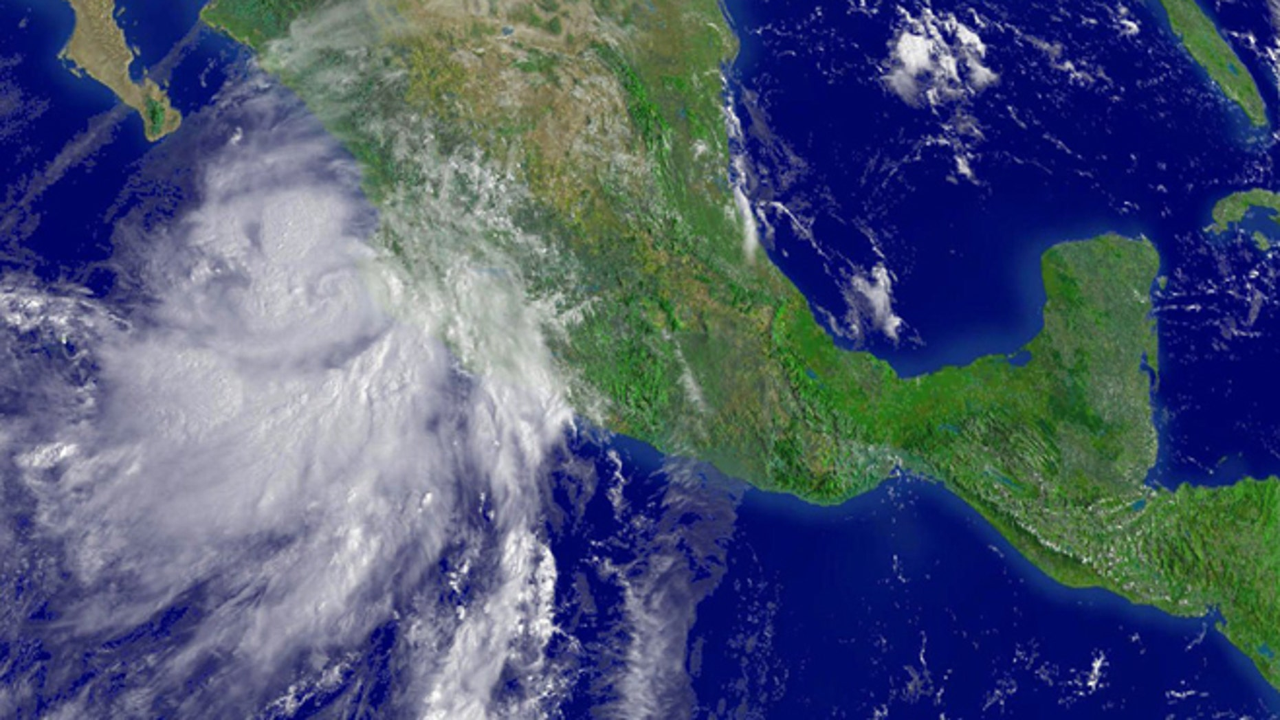 A 2006 tropical storm threatens the Pacific coast of Mexico. (Photo by NOAA via Getty Images)