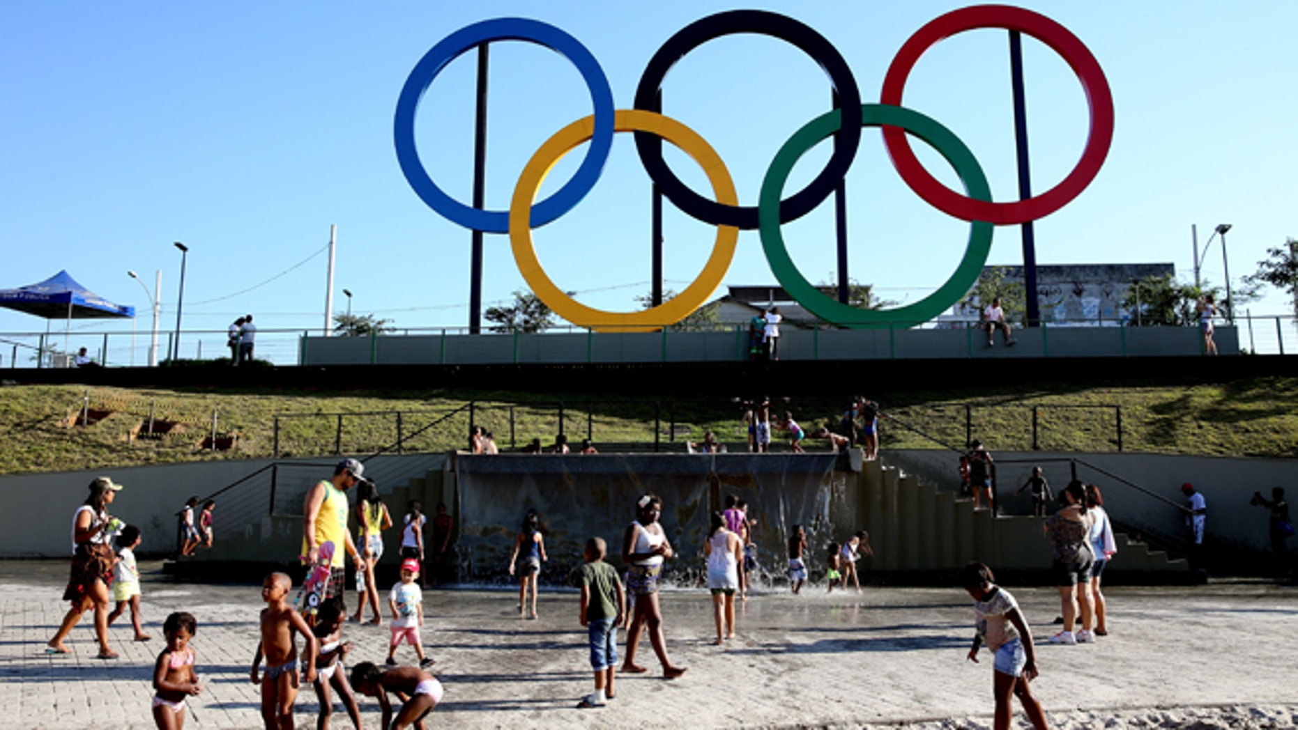 The Olympic Rings rise above Madureira Park on June 4, 2015 in Rio de Janeiro, Brazil.