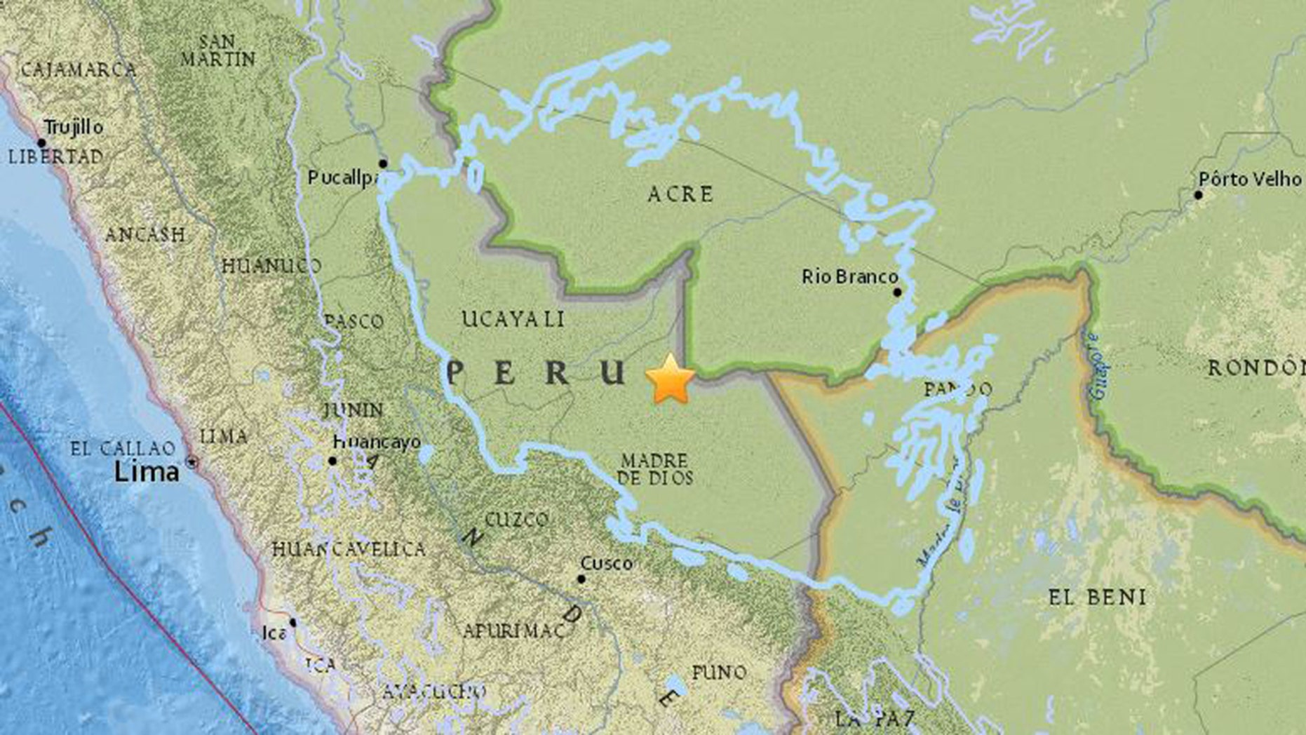 A 7.1-magnitude earthquake has struck eastern Peru, close to its borders with Bolivia and Brazil on Friday morning, the USGS reported.