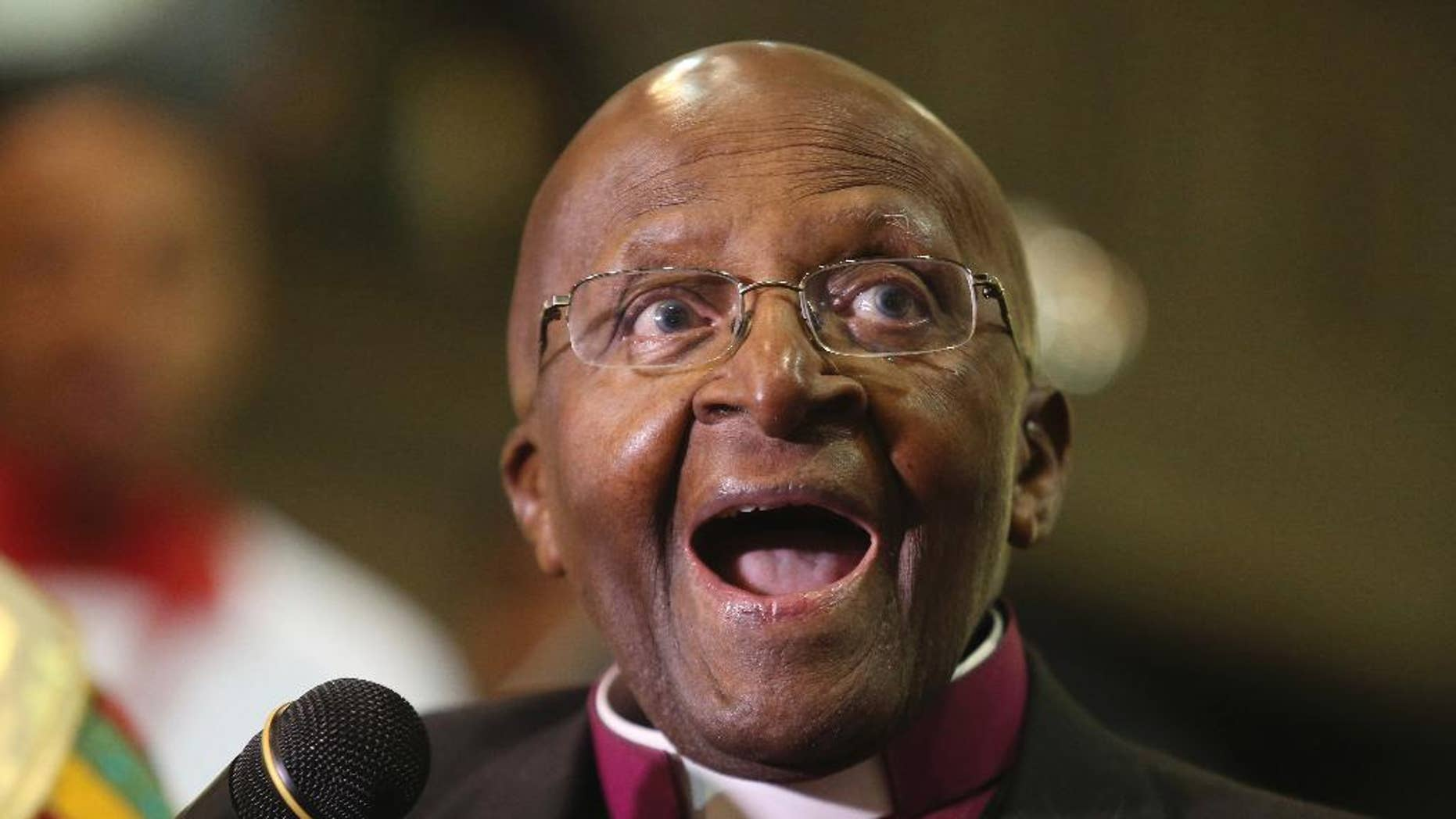 """FILE - In this July 2016 file photo, Anglican Archbishop Emeritus Desmond Tutu takes part in a Mass to celebrate four decades of episcopal ministry at a special thanksgiving Mass at St Mary's Cathedral in Johannesburg. Nobel laureate Desmond Tutu was readmitted to a South African hospital on Saturday, Sept. 17, 2016,  just days after he left following three weeks of treatment there. The 84-year-old retired archbishop returned to the hospital """"as a precaution after his surgical wound had shown signs of infection,"""" a family statement quoted Tutu's wife, Leah, as saying. (AP Photo/Denis Farrell, File)"""