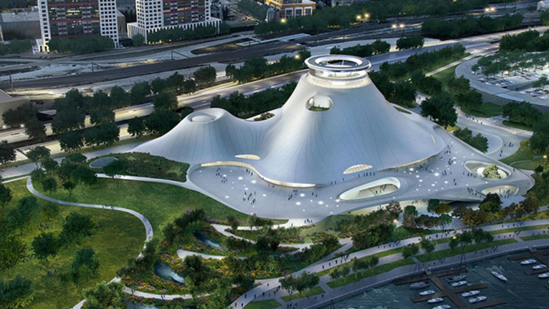 This rendering shows the proposed Lucas Museum of Narrative Art in Chicago.