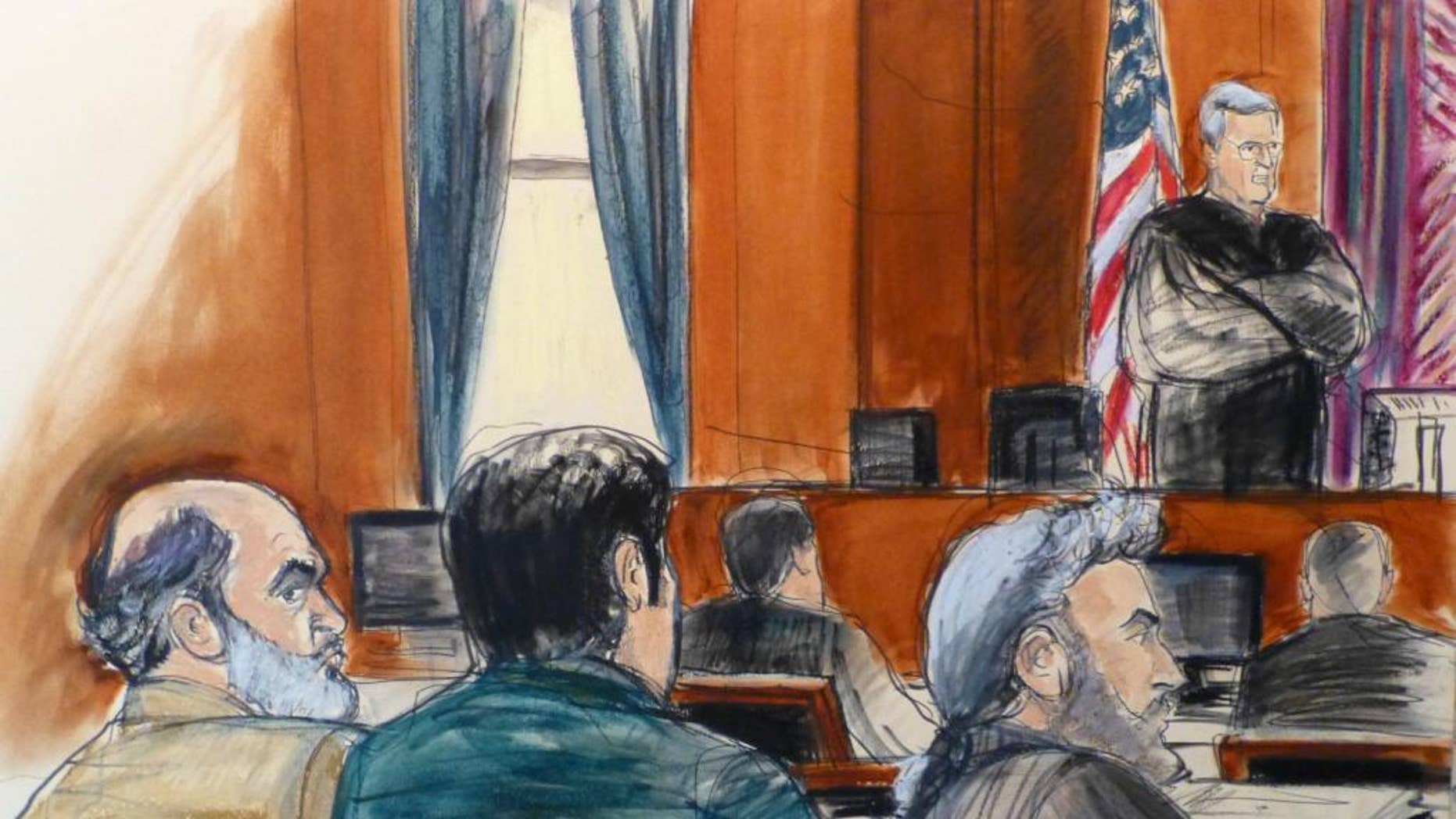 In this courtroom sketch, Sulaiman Abu Ghaith, left, listens as U.S. District Judge Lewis A. Kaplan stands to speak Monday, March 3, 2014 during jury selection at the start of Abu Ghaith's trial in New York on charges that he conspired to kill Americans and support terrorists in his role as al-Qaida's spokesman after the Sept. 11 attacks. Abu Ghaith is Osama bin Laden's son-in-law and is  the highest-ranking al-Qaida figure to face trial on U.S. soil since the Sept. 11 attacks. Seated next to Abu Ghaith is a translater, next to defense attorney Stanley Cohen, right. (AP Photo/Elizabeth Williams)